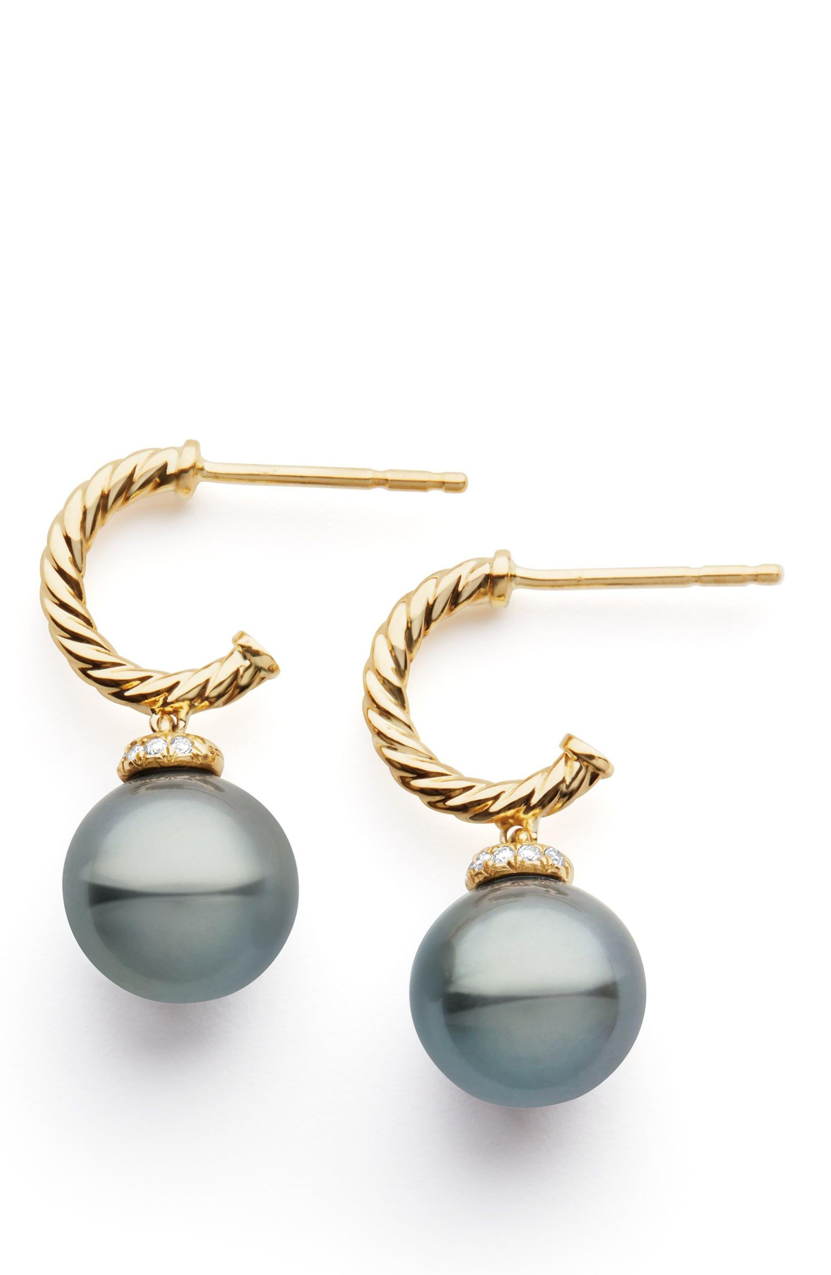 Solari Hoop Earrings with Diamonds and Genuine Pearl,                             Alternate thumbnail 2, color,                             GOLD/ DIAMOND/ GREY PEARL