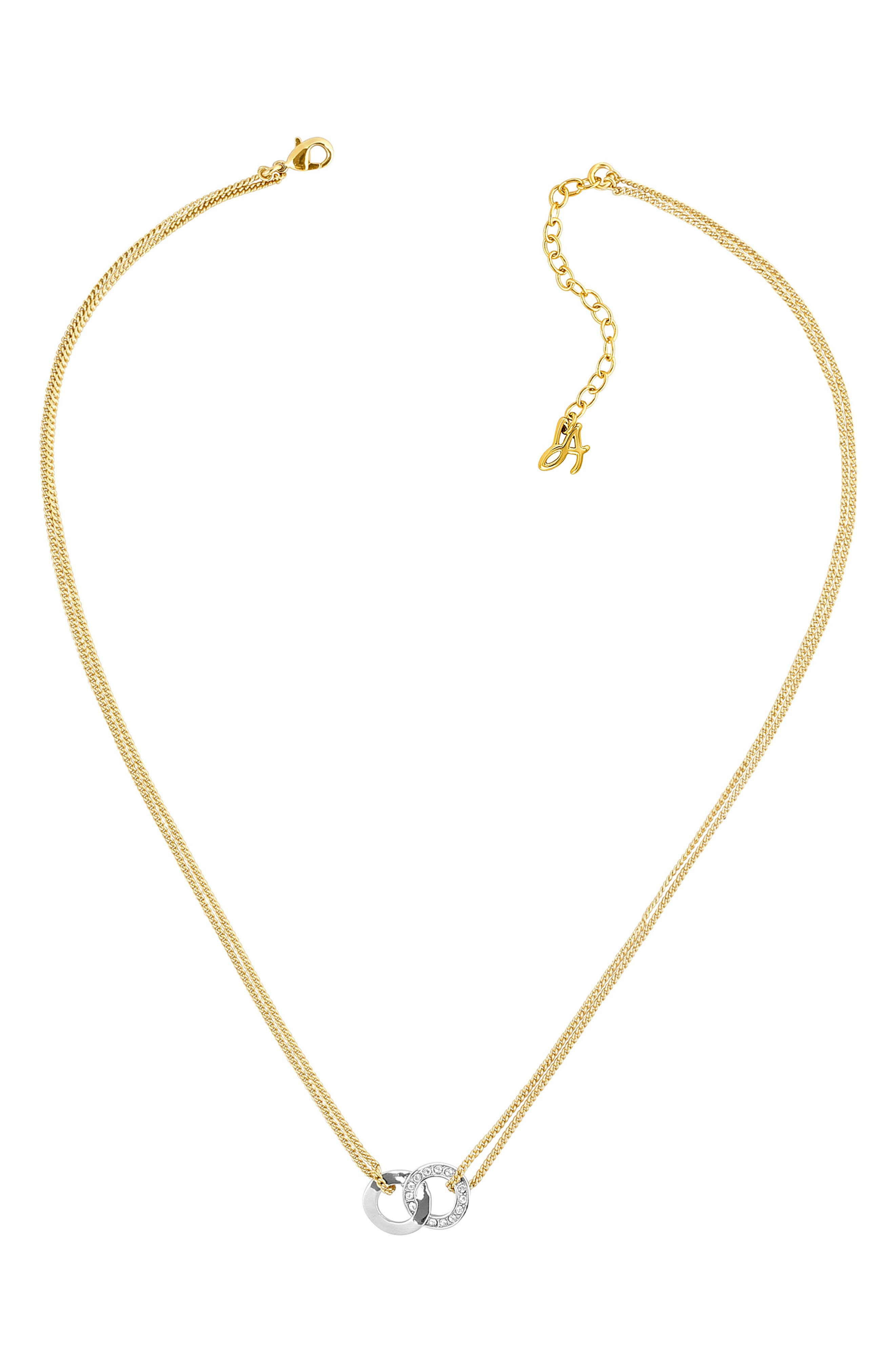 ADORE,                             Interlocking Ring Necklace,                             Alternate thumbnail 4, color,                             GOLD/ SILVER