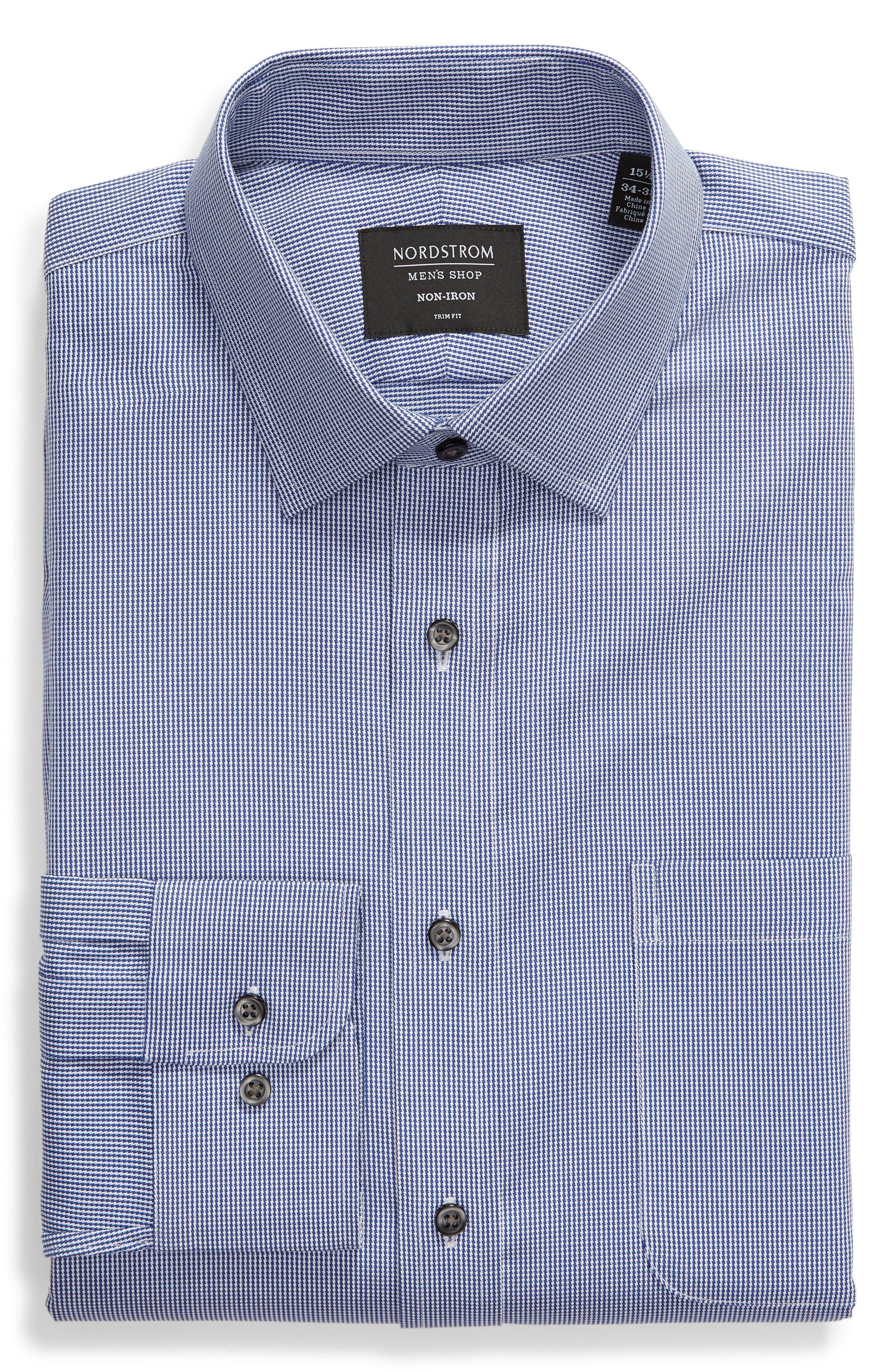 Trim Fit Non-Iron Solid Dress Shirt,                             Alternate thumbnail 5, color,                             NAVY DRESS