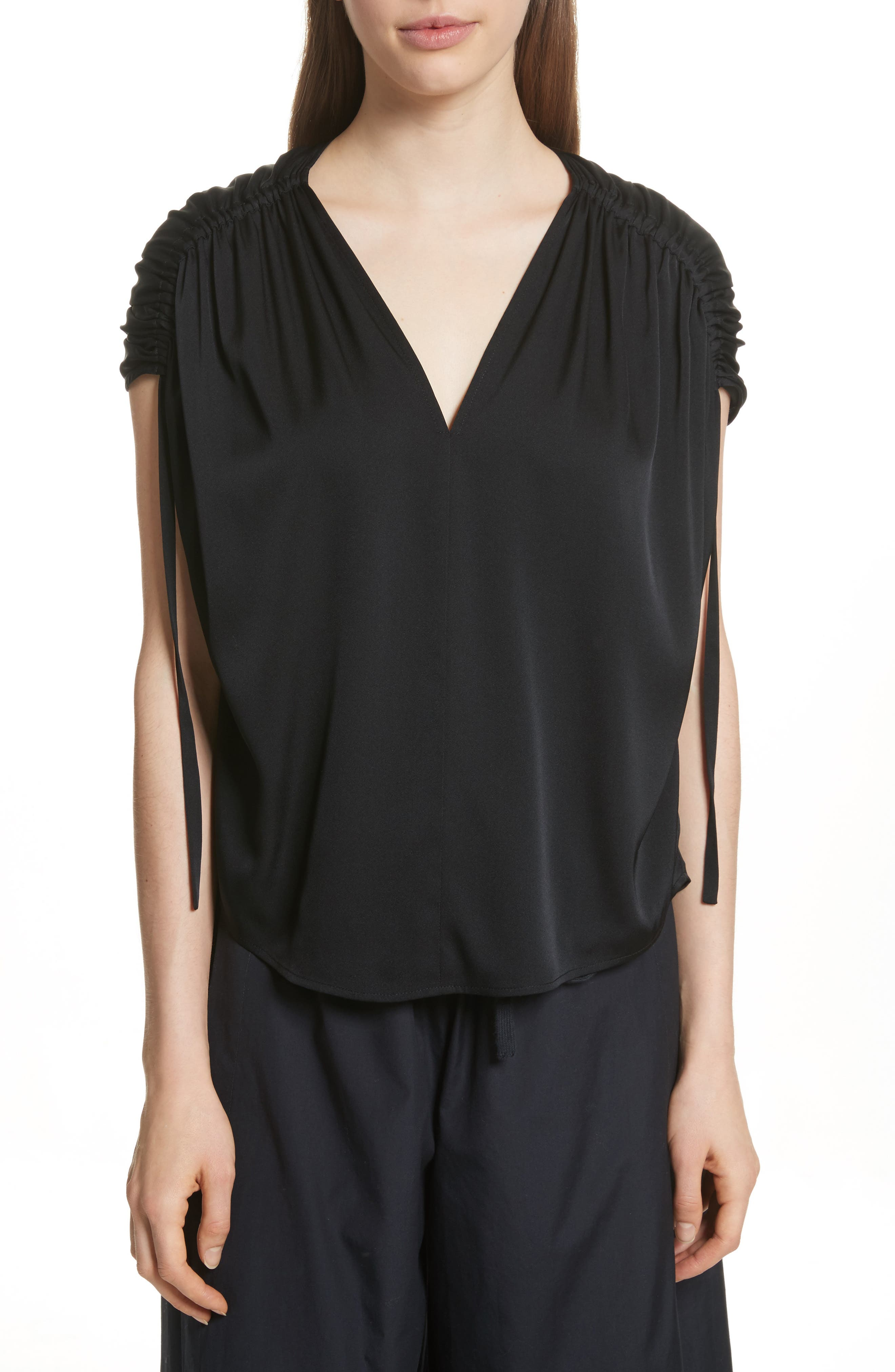 Ruched Silk Top,                         Main,                         color, 001