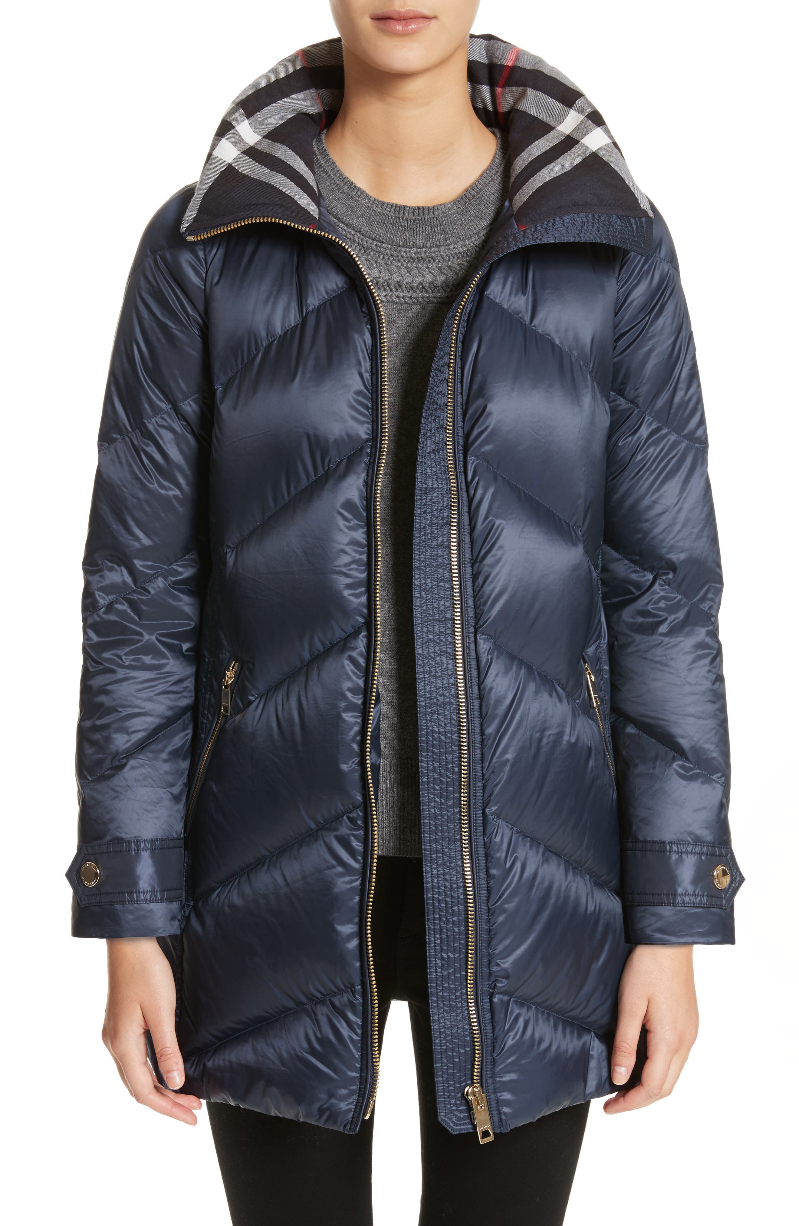 BURBERRY,                             Eastwick Chevron Quilted Coat,                             Main thumbnail 1, color,                             412