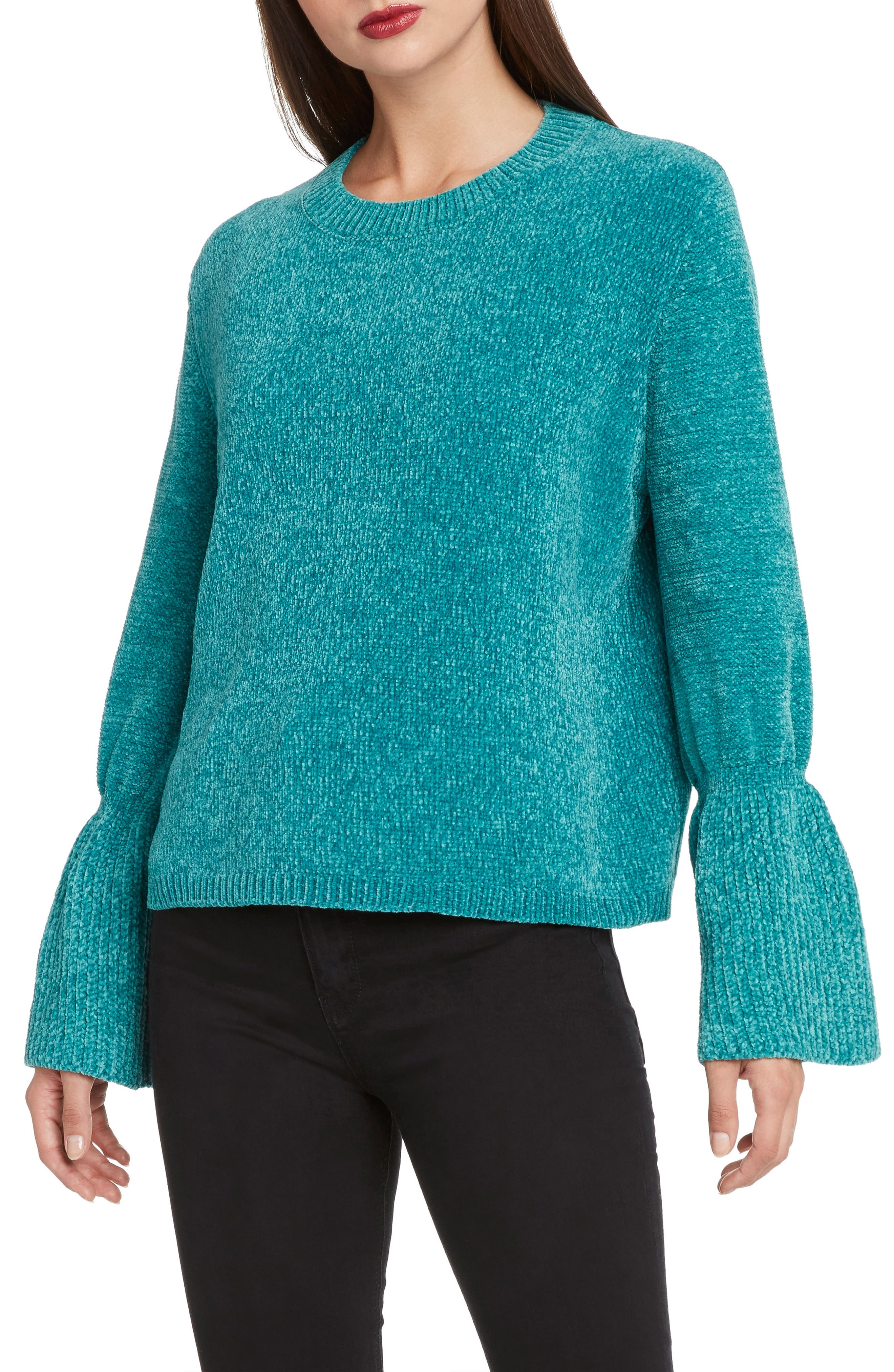 Chenille Bell Sleeve Sweater,                         Main,                         color, LAGOON