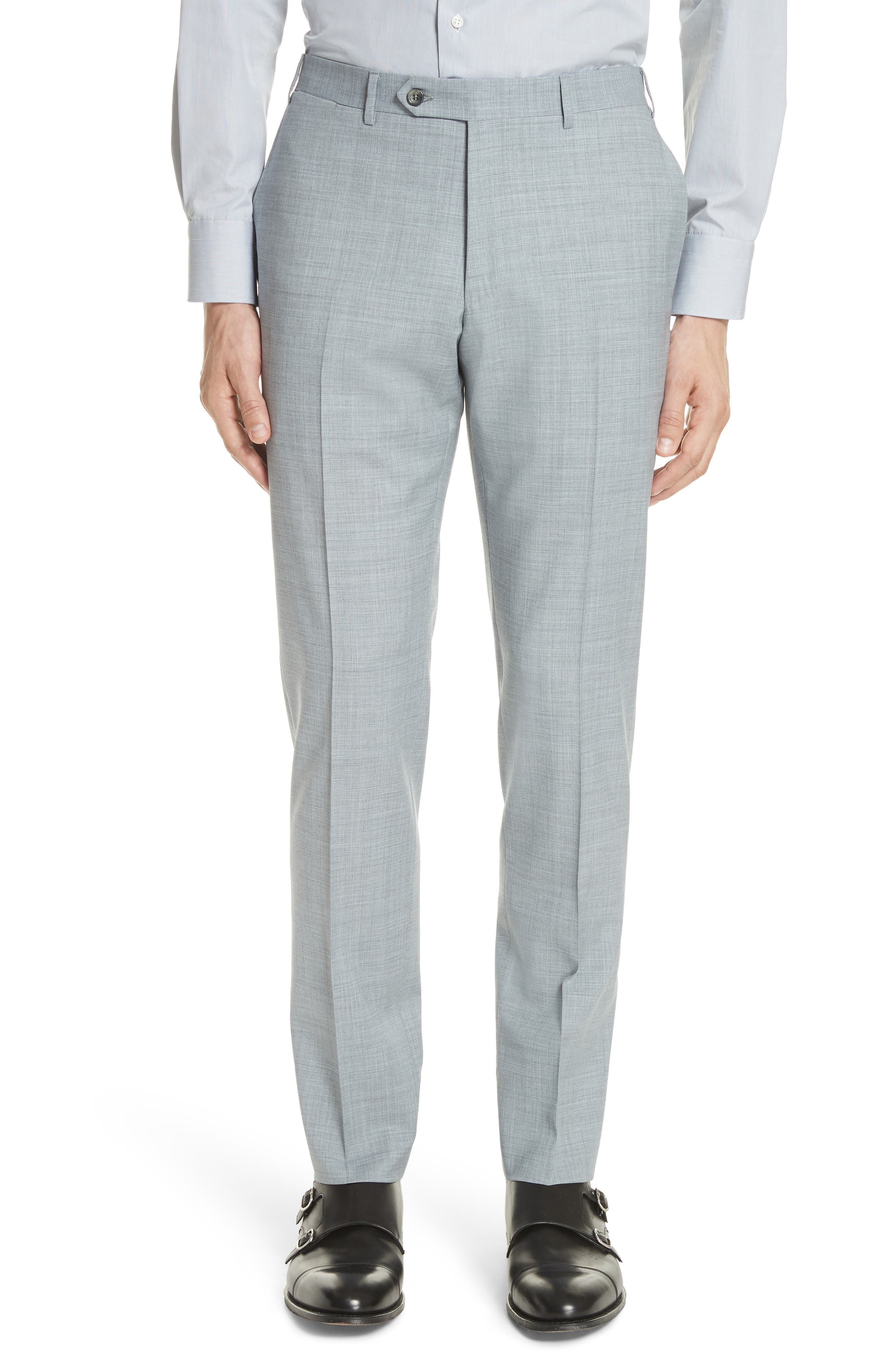Kei Flat Front Solid Wool Trousers,                             Main thumbnail 1, color,