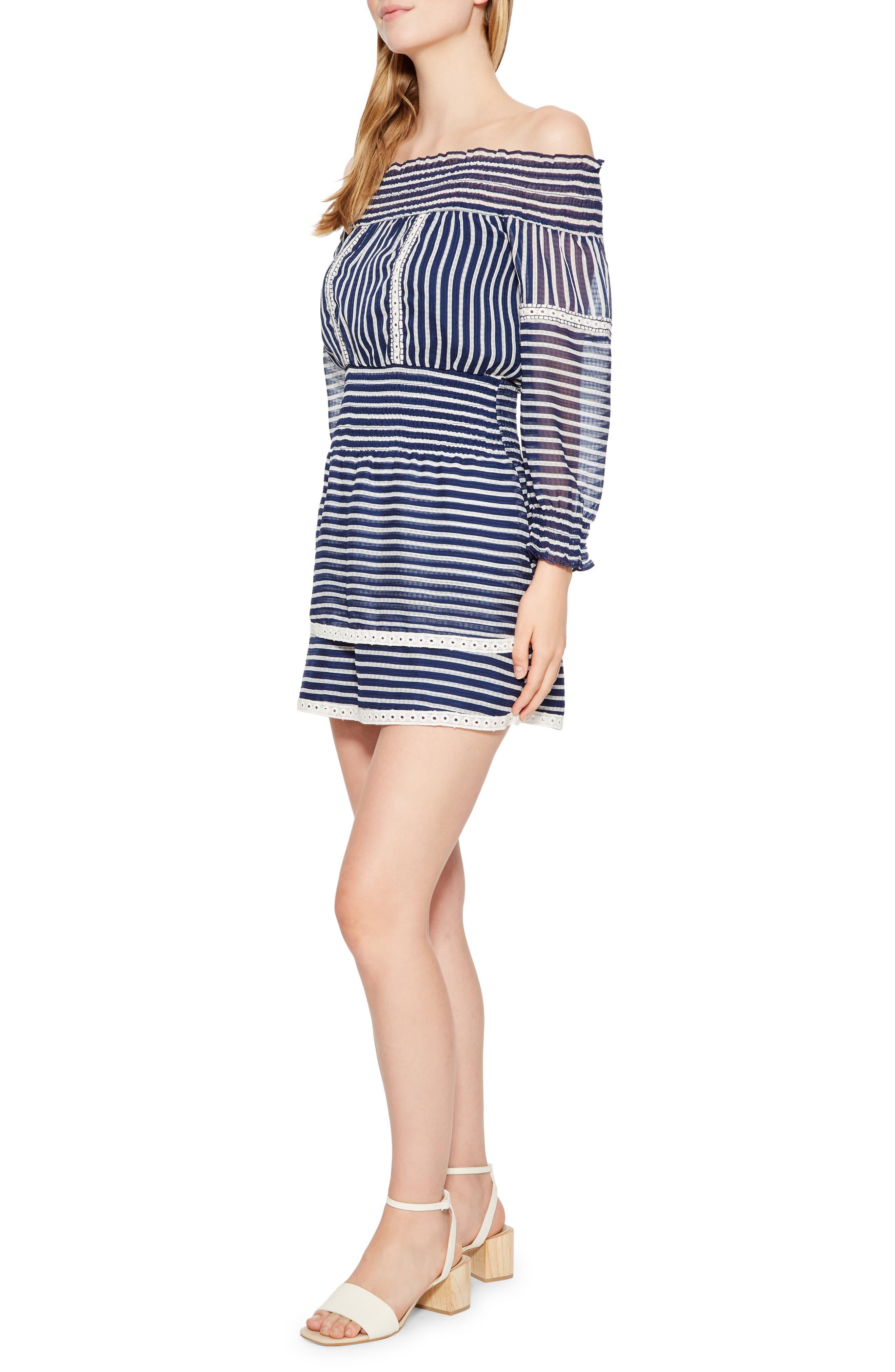 Carah Stripe Off the Shoulder Dress,                             Alternate thumbnail 3, color,                             496