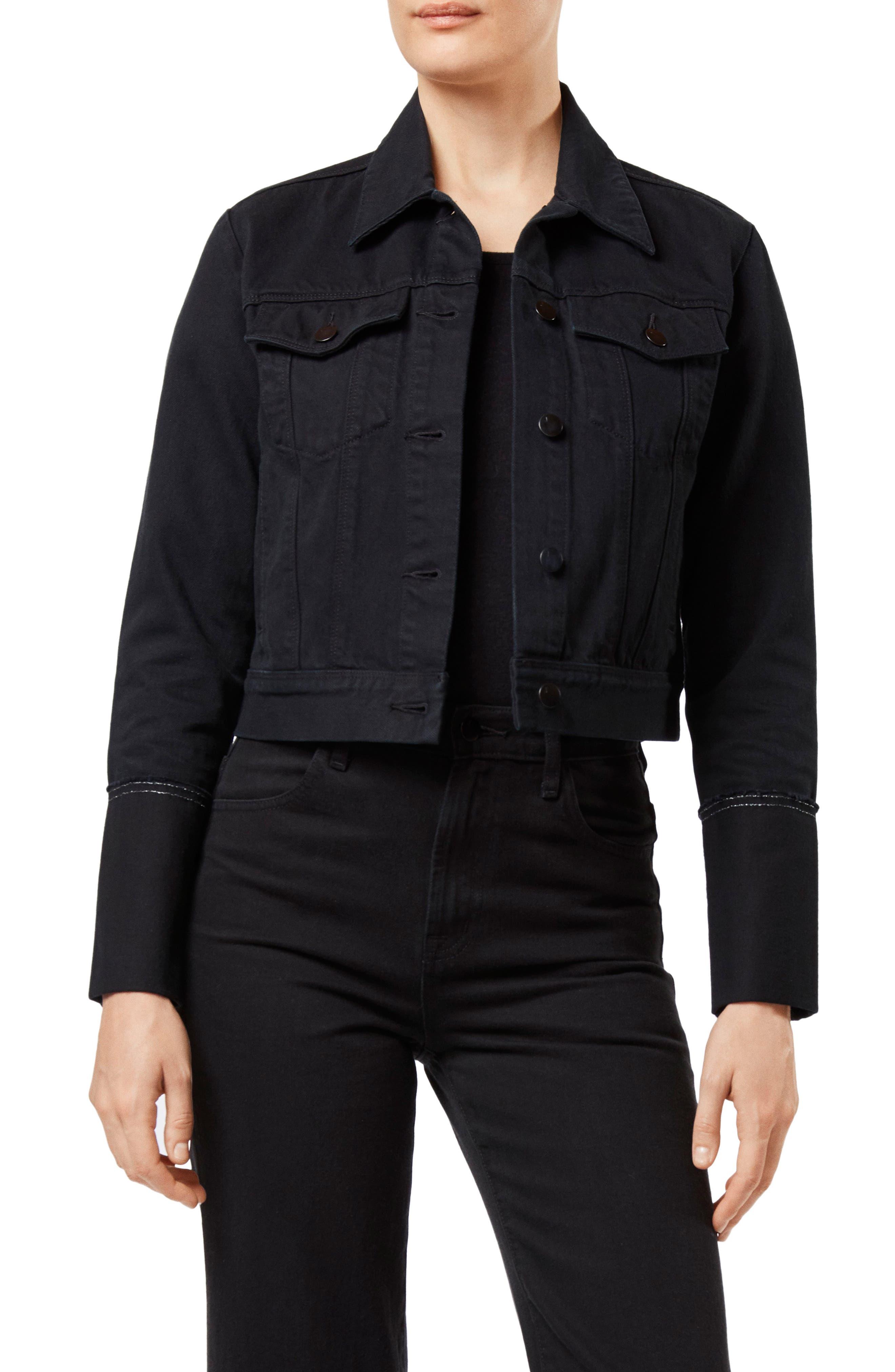 Harlow Shrunken Denim Jacket,                         Main,                         color, HEMATITE