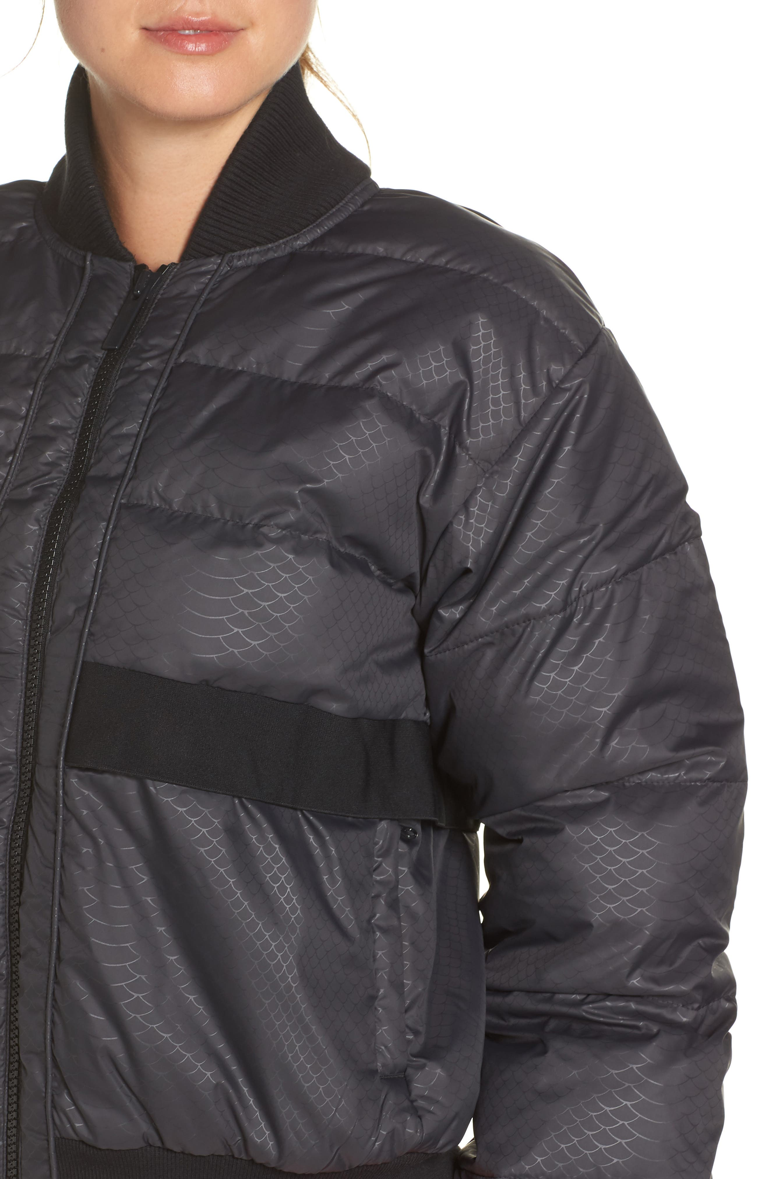 Crop Puffer Jacket,                             Alternate thumbnail 4, color,                             001