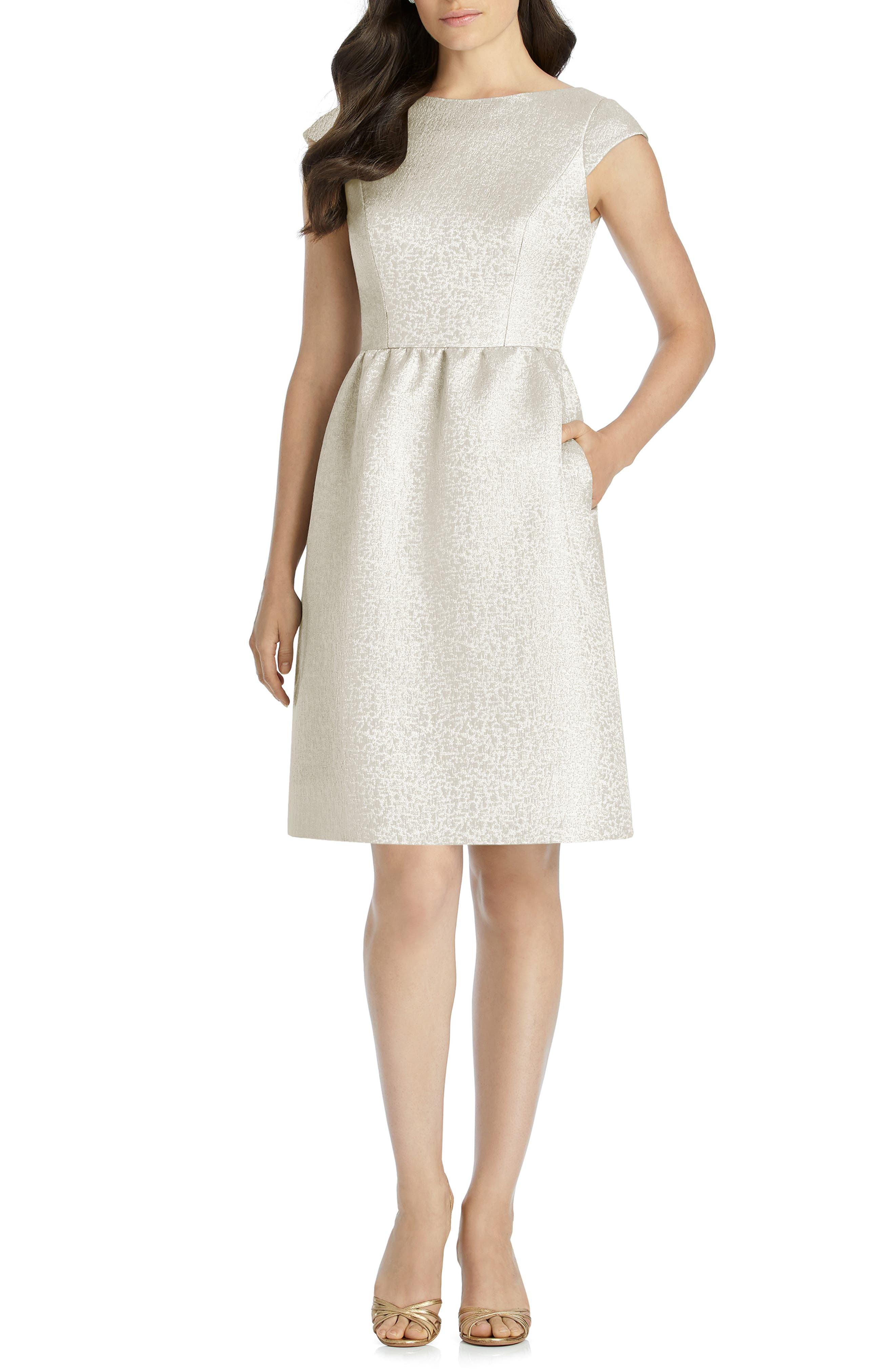 Dessy Collection Bateau Neck Cocktail Dress, Ivory