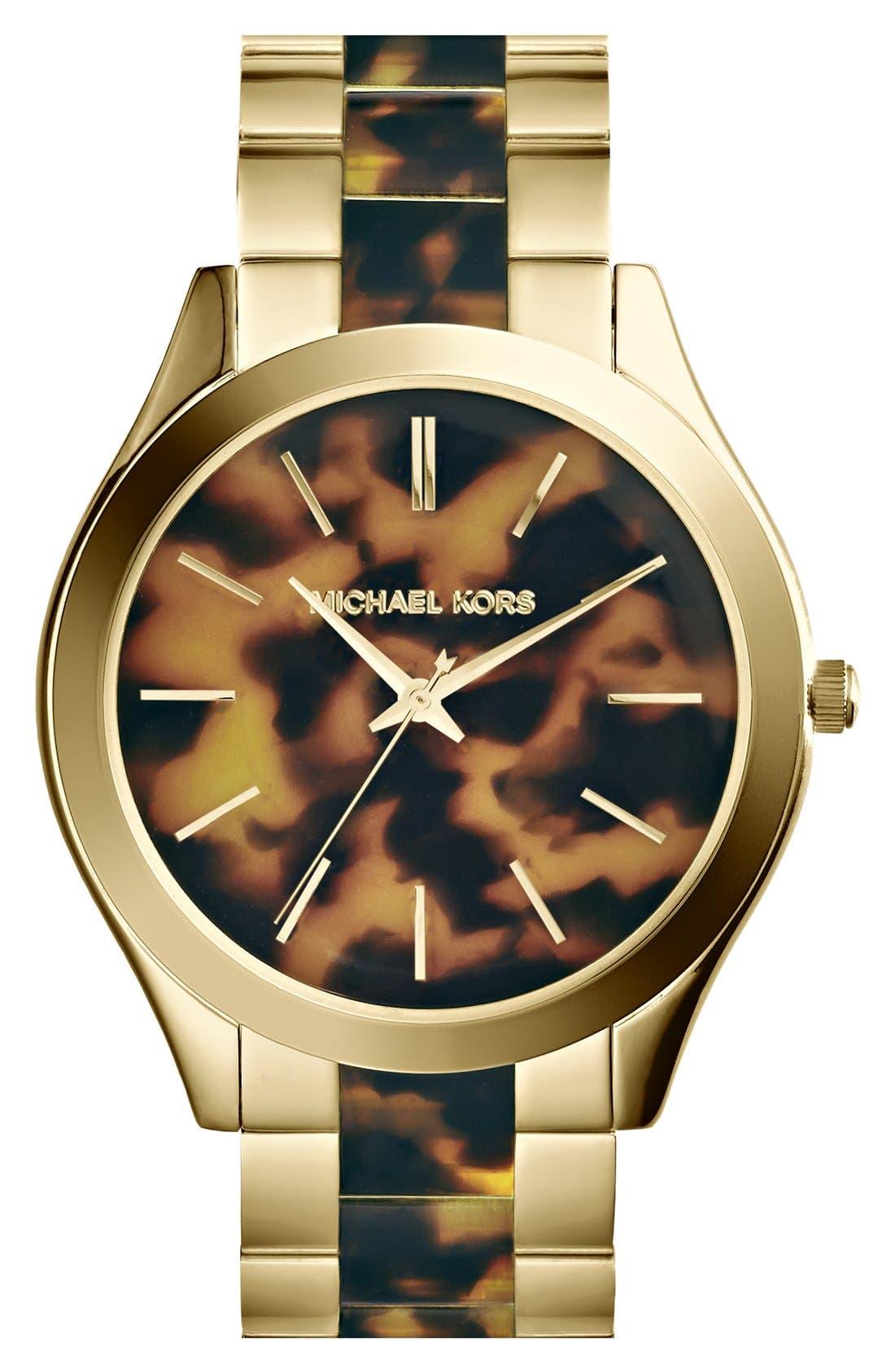 Michael Kors 'Slim Runway' Round Bracelet Watch, 42mm,                             Alternate thumbnail 3, color,                             200