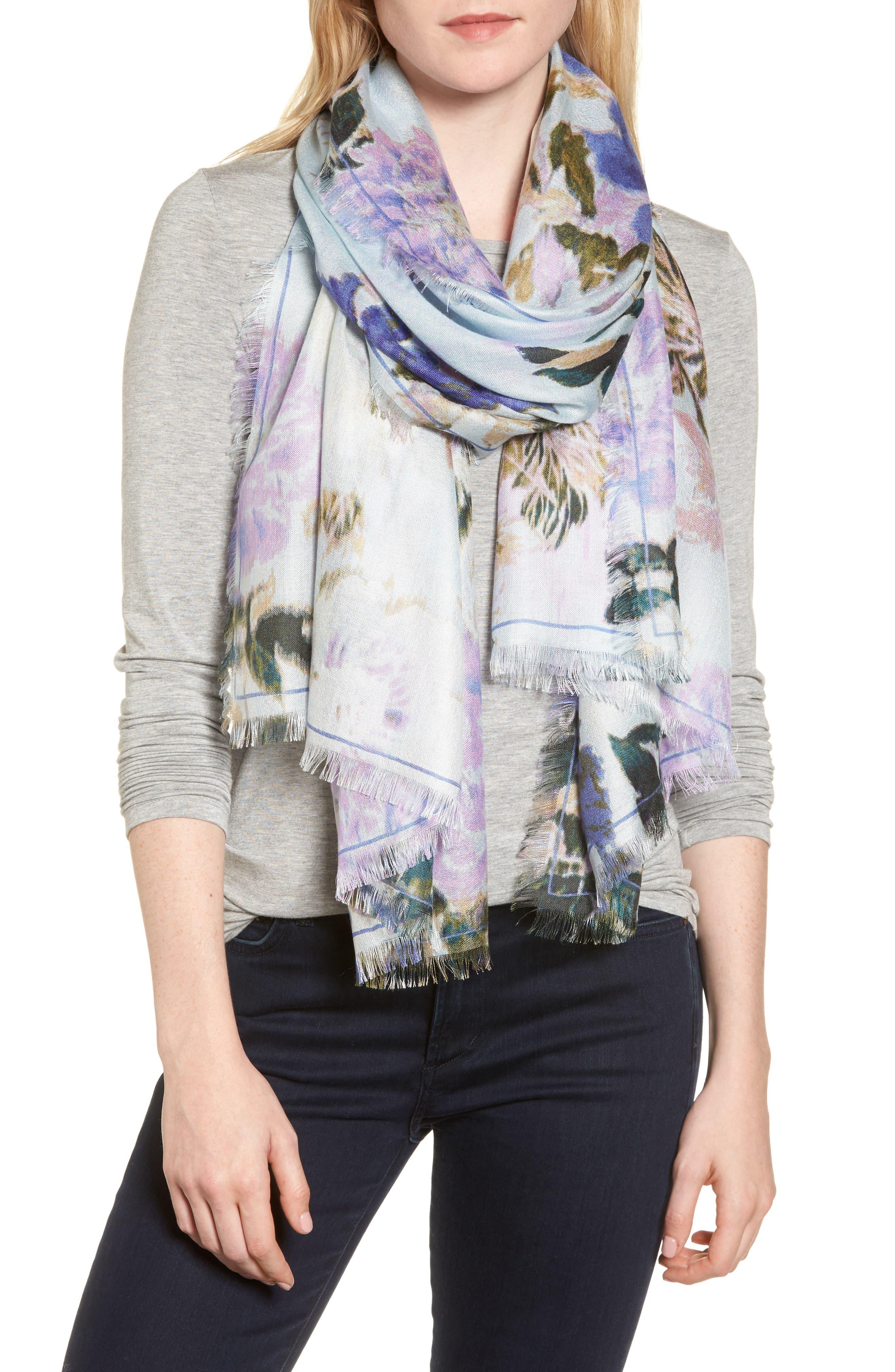 Eyelash Trim Print Cashmere & Silk Wrap,                             Main thumbnail 21, color,