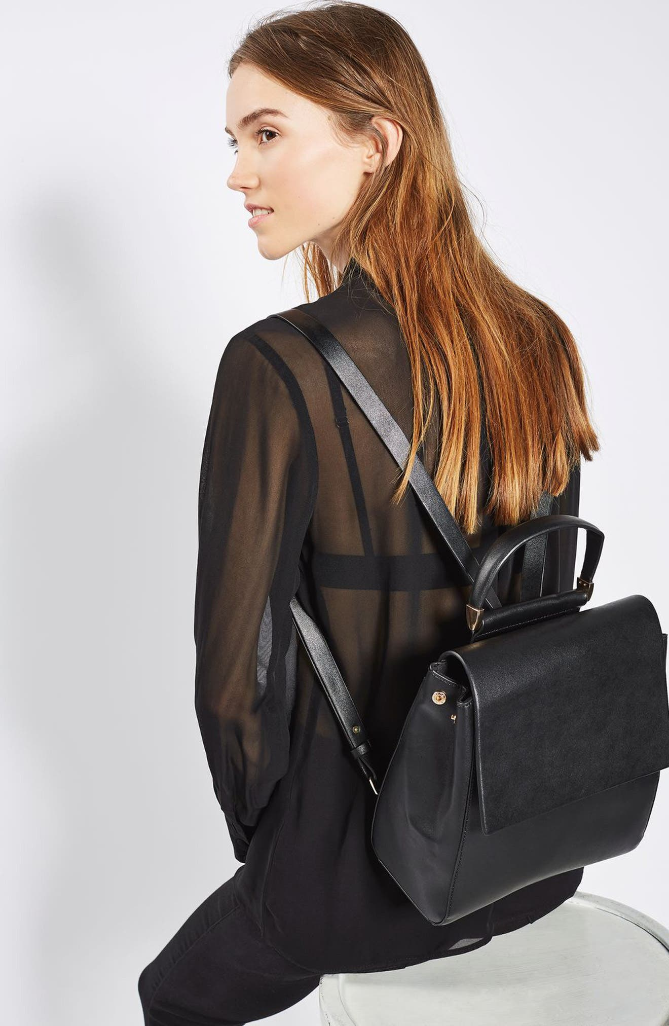 Mini Scandi Faux Leather Backpack,                             Alternate thumbnail 8, color,                             001