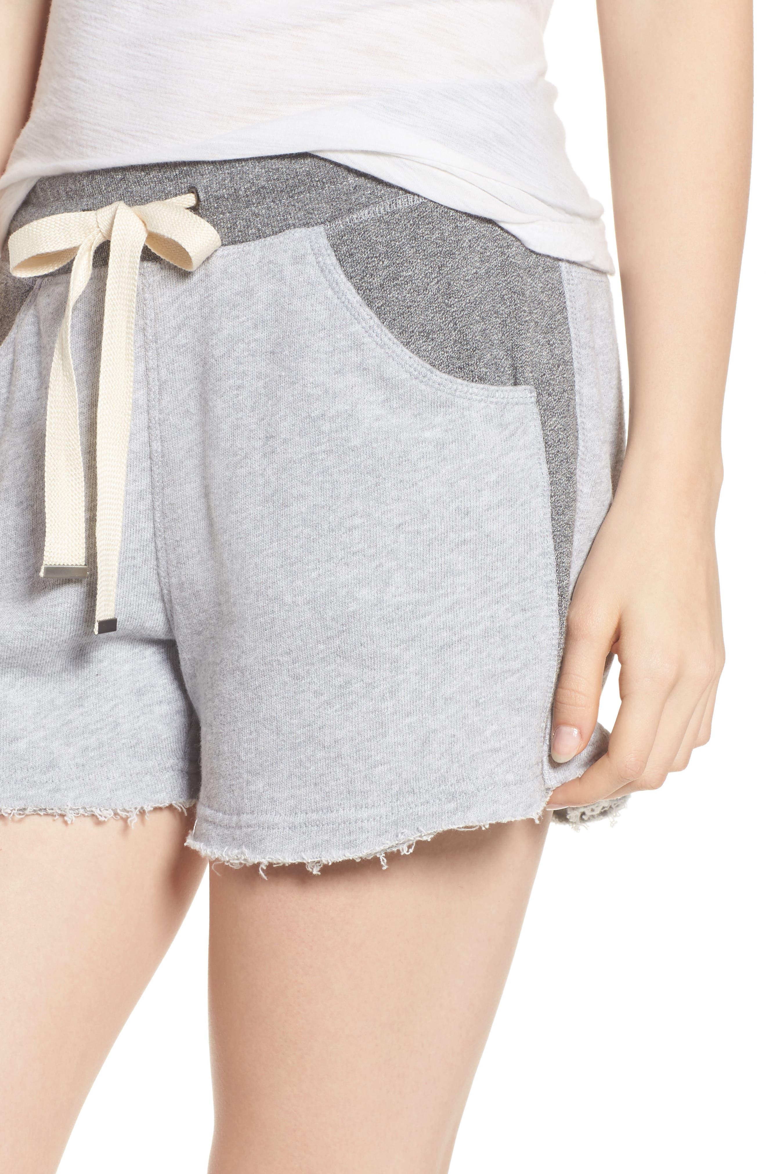 Raw Hem Sweat Shorts,                             Alternate thumbnail 4, color,