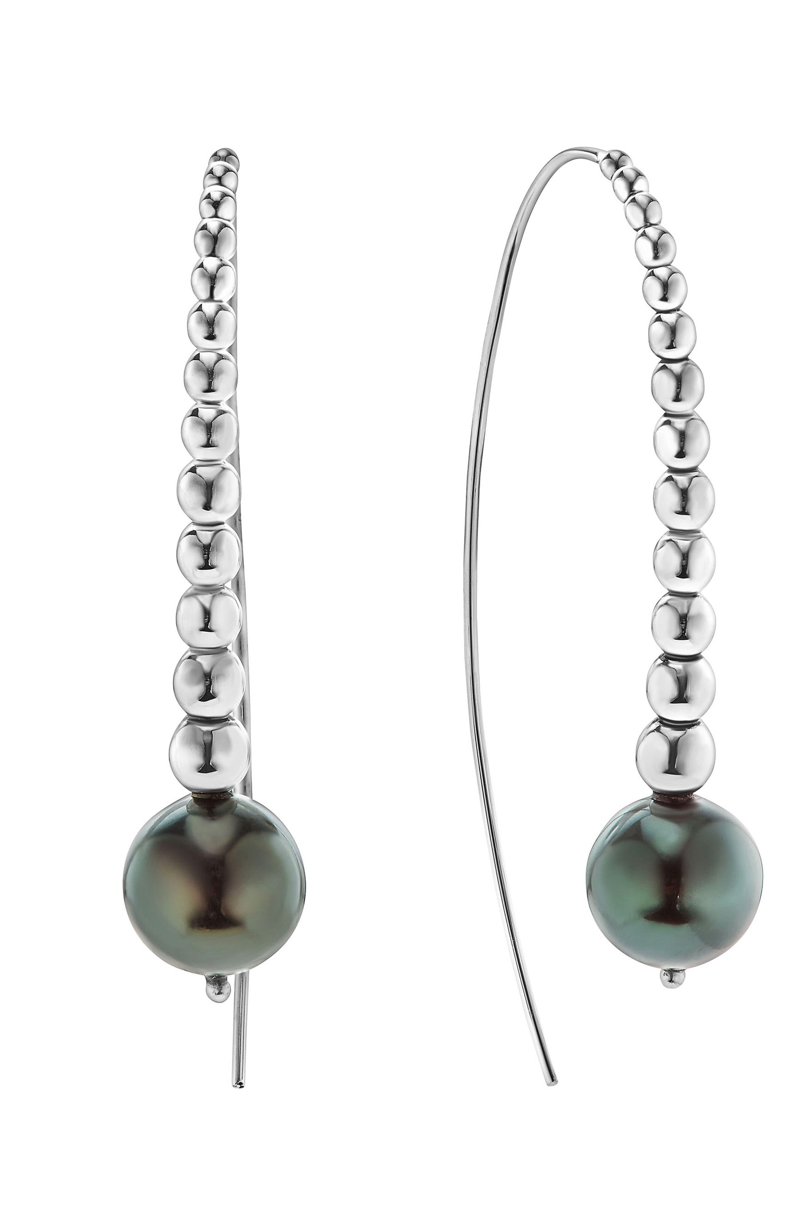 Threader Pearl Earrings,                             Alternate thumbnail 2, color,                             SILVER/ BLACK
