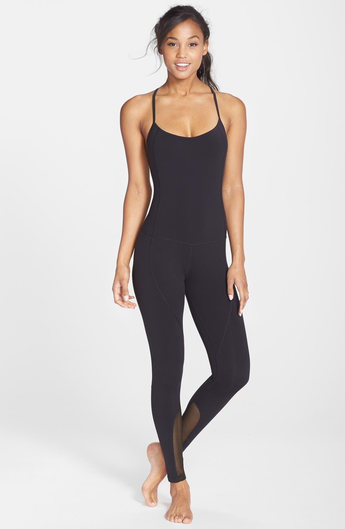 'Bianca Noir' Full Length Bodysuit, Main, color, 001