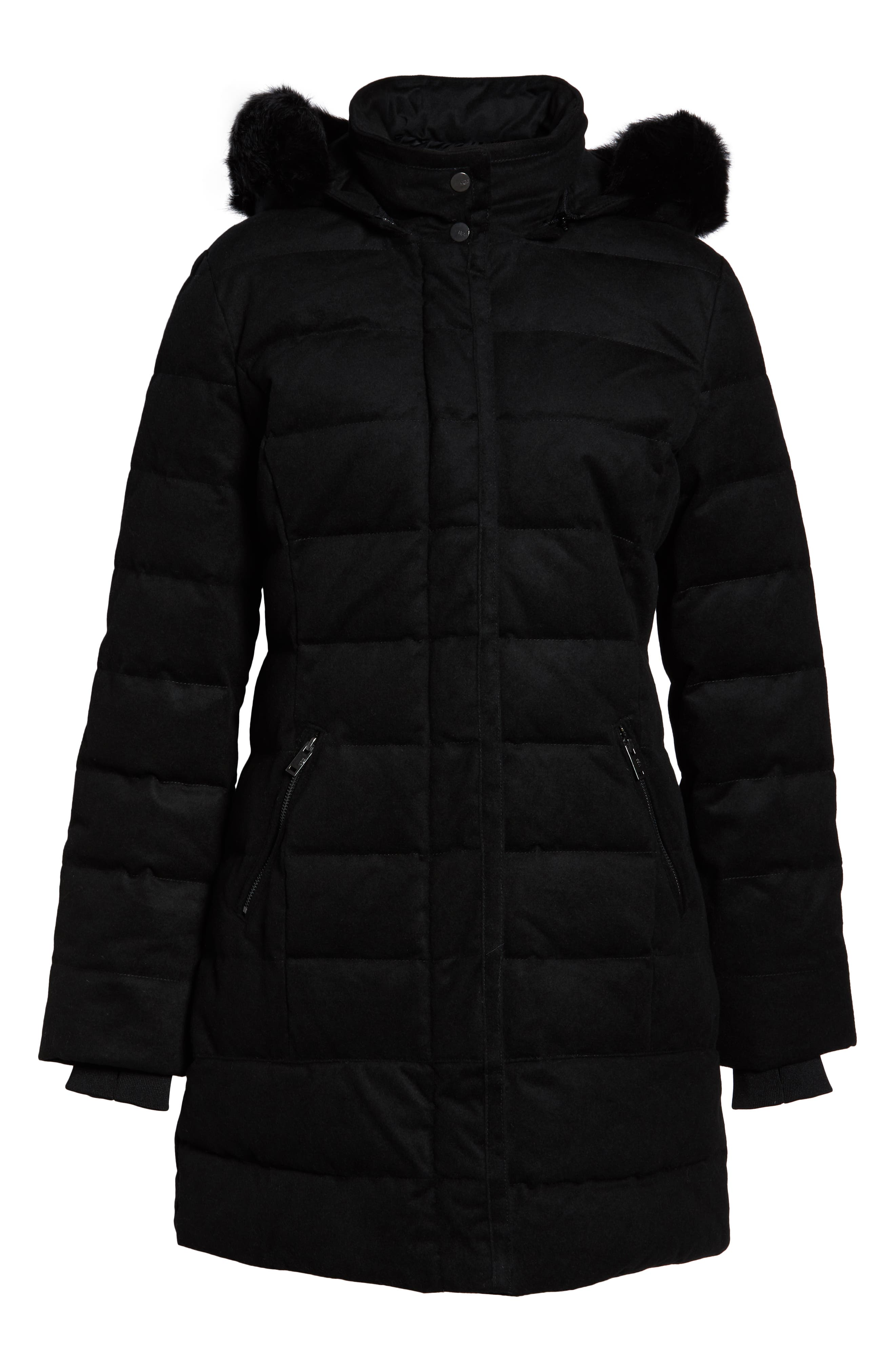 Celeste Genuine Shearling Trim Down Coat,                             Alternate thumbnail 6, color,                             BLACK