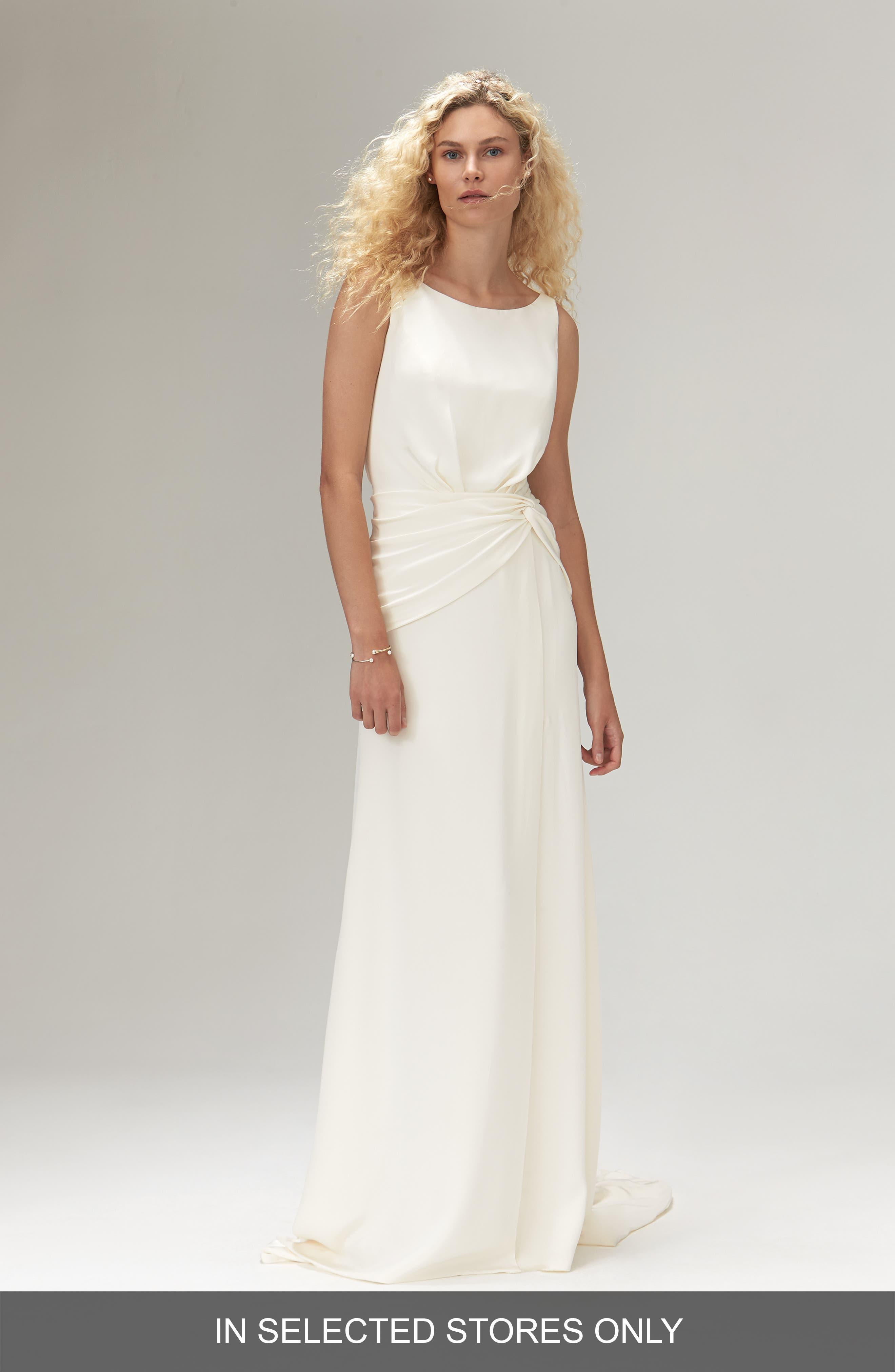 Amadine Silk Open Back Wedding Dress in Ivory