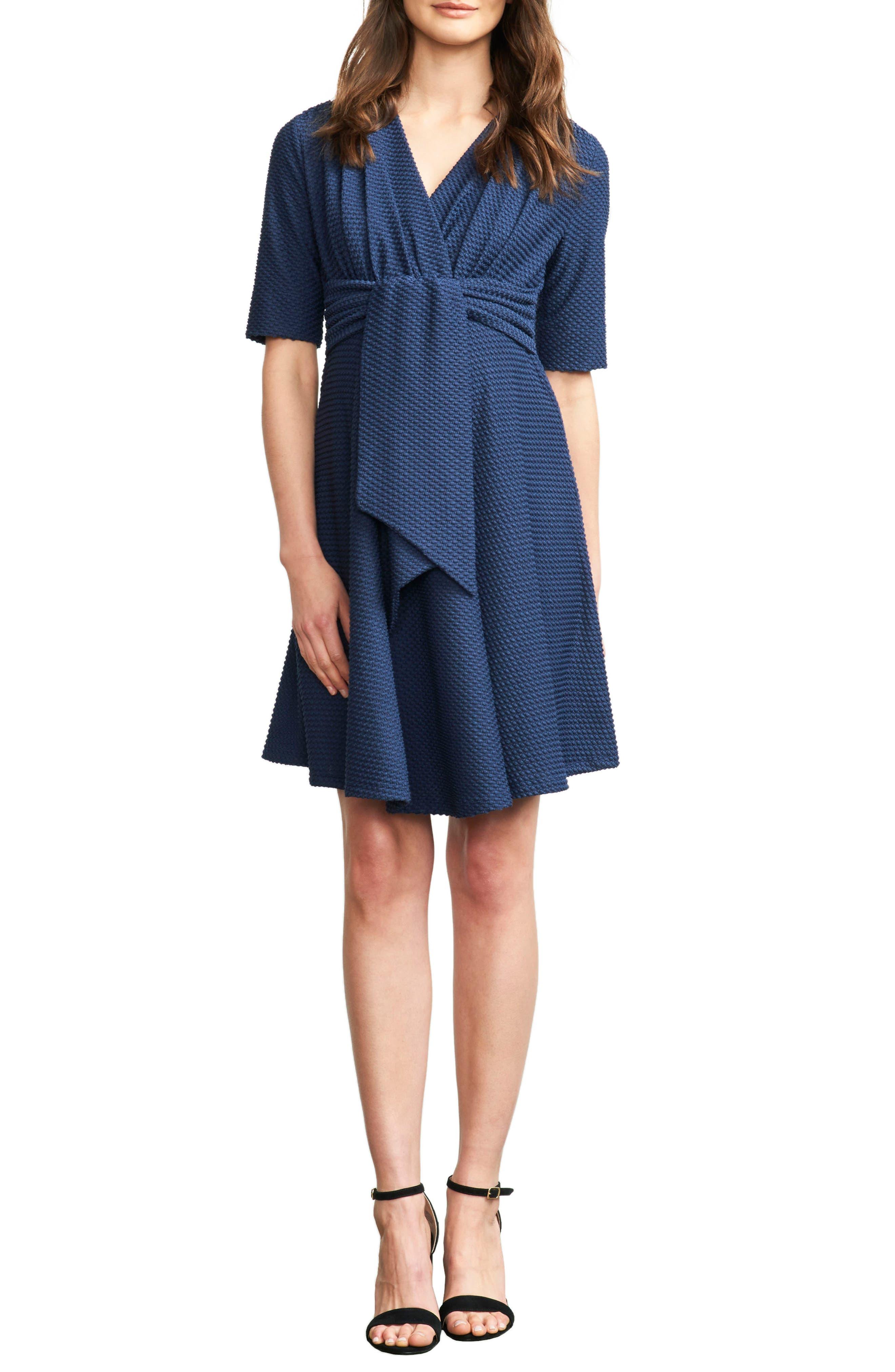 Maternal America Tie Waist Maternity Dress, Blue