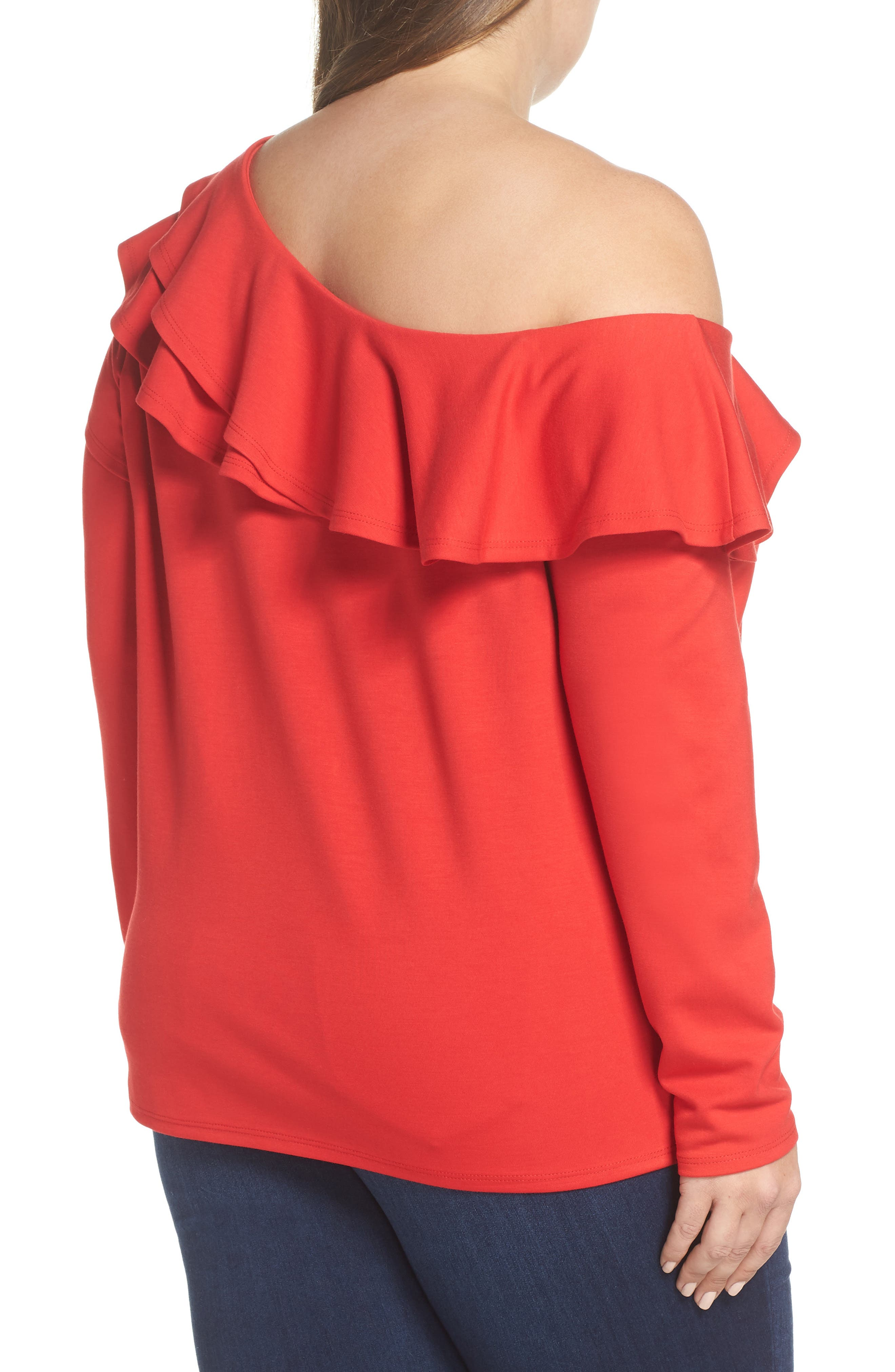 x Living in Yellow Elizabeth One-Shoulder Ruffle Top,                             Alternate thumbnail 9, color,