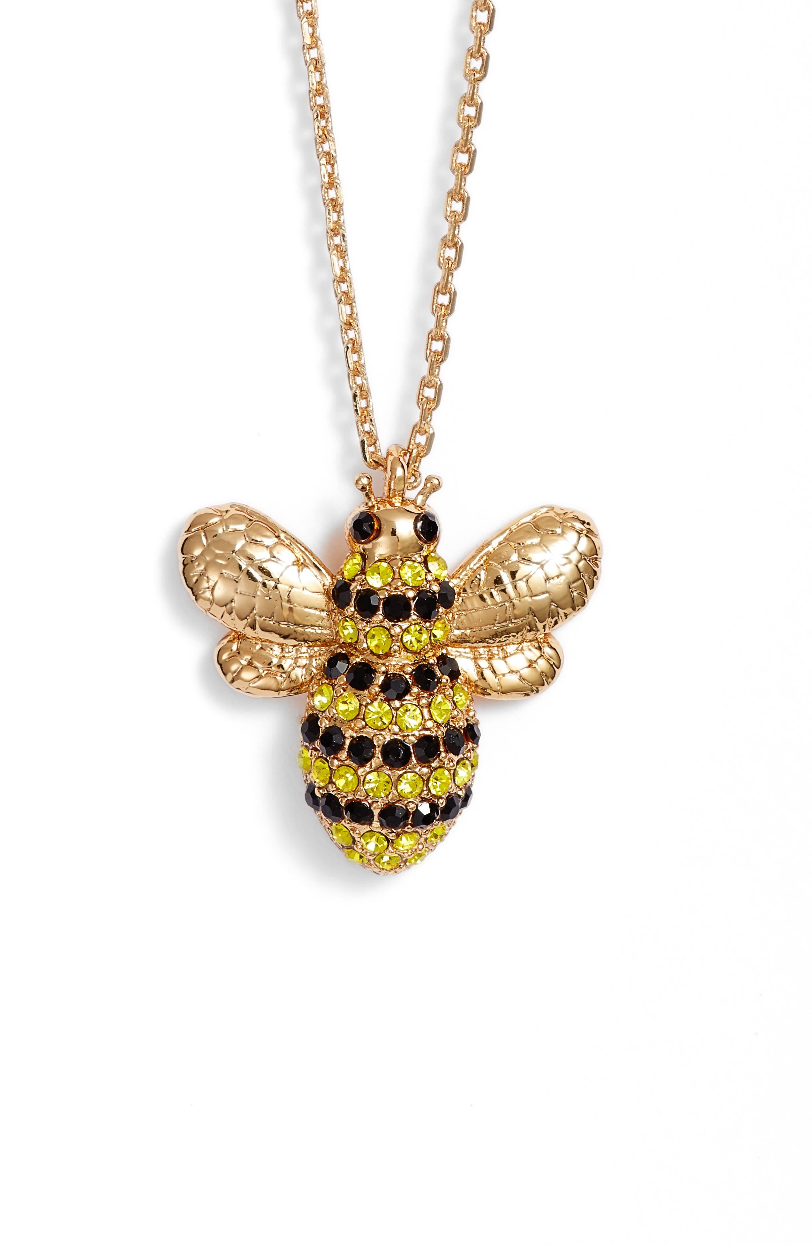 picnic perfect pavé bee necklace,                         Main,                         color, 710