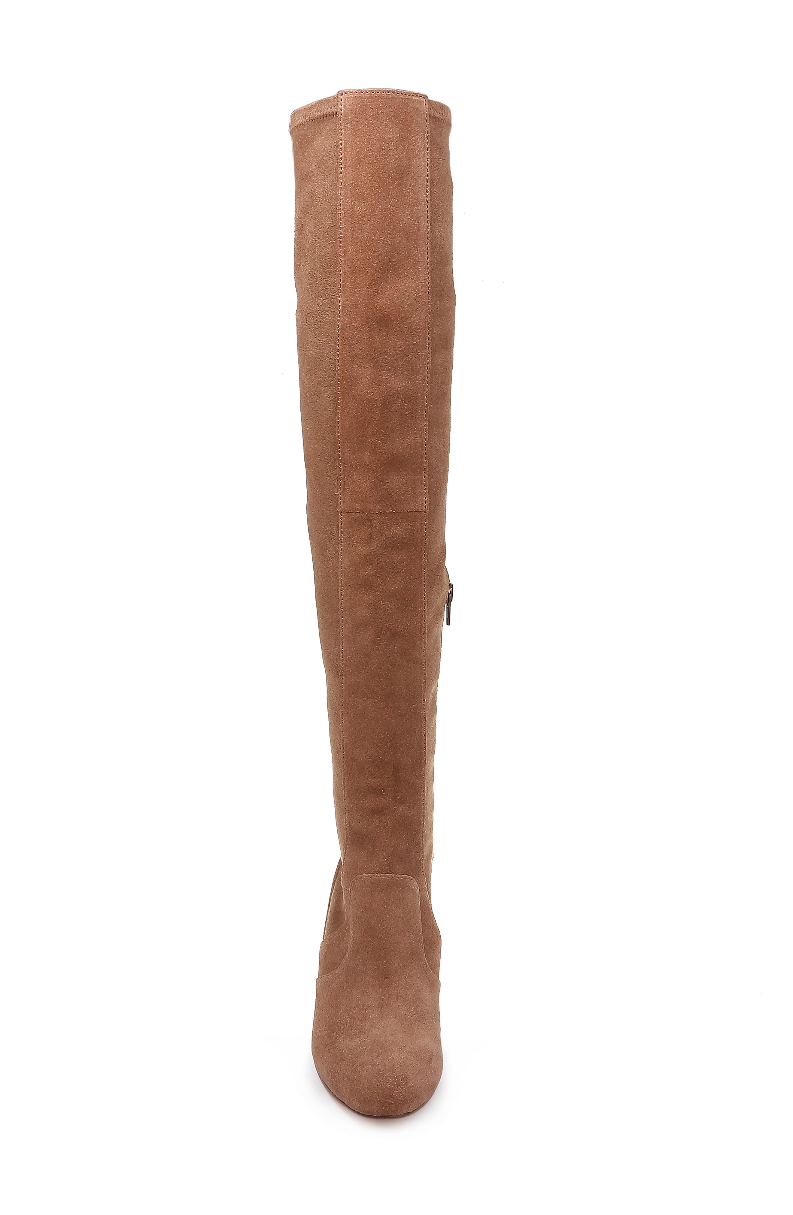 Over the Knee Stretch Back Boot,                             Alternate thumbnail 4, color,                             LIGHT BROWN SUEDE