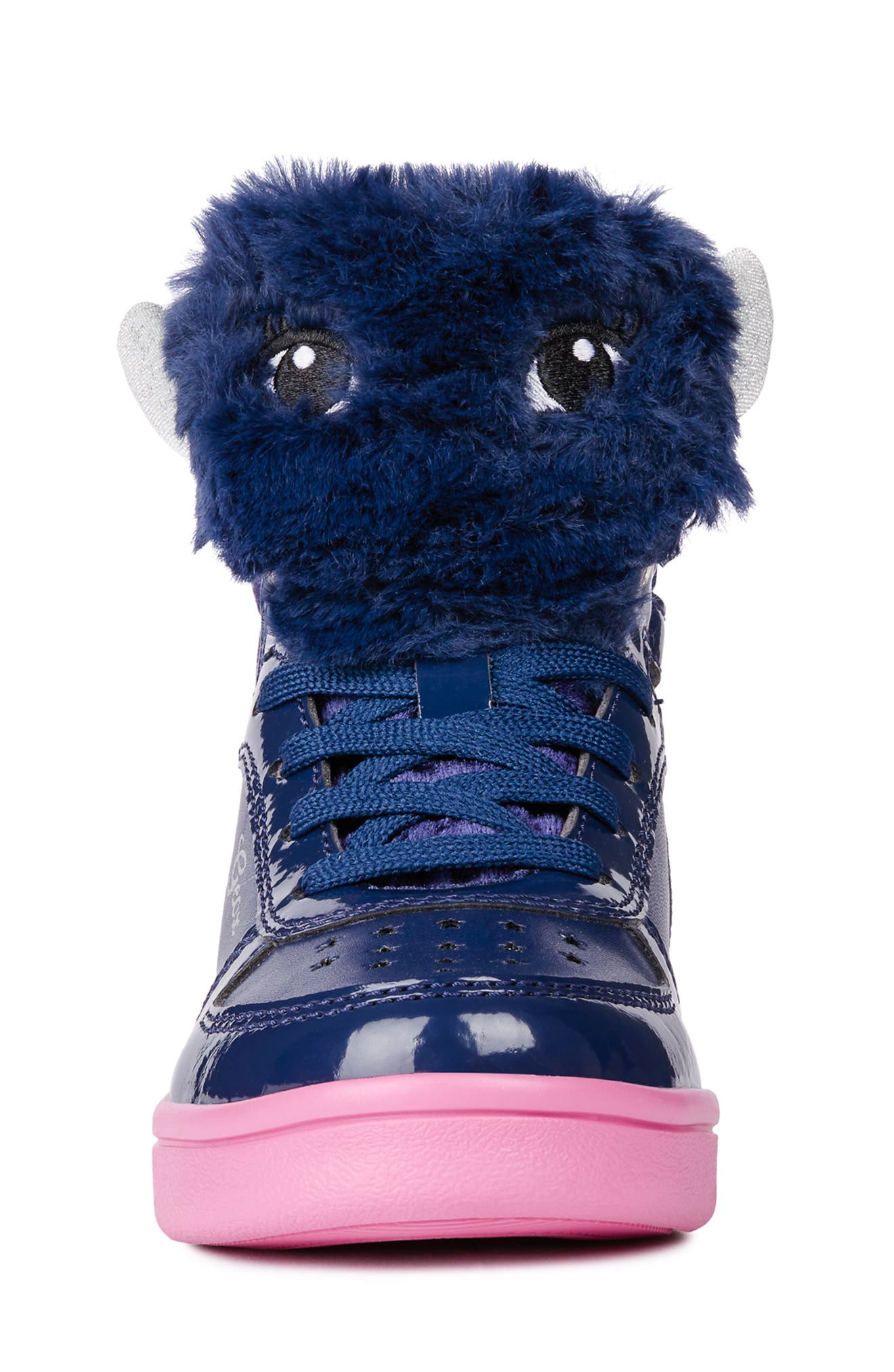 DJ Rock Fuzzy Friend Sneaker,                             Alternate thumbnail 4, color,                             NAVY/FUCHSIA