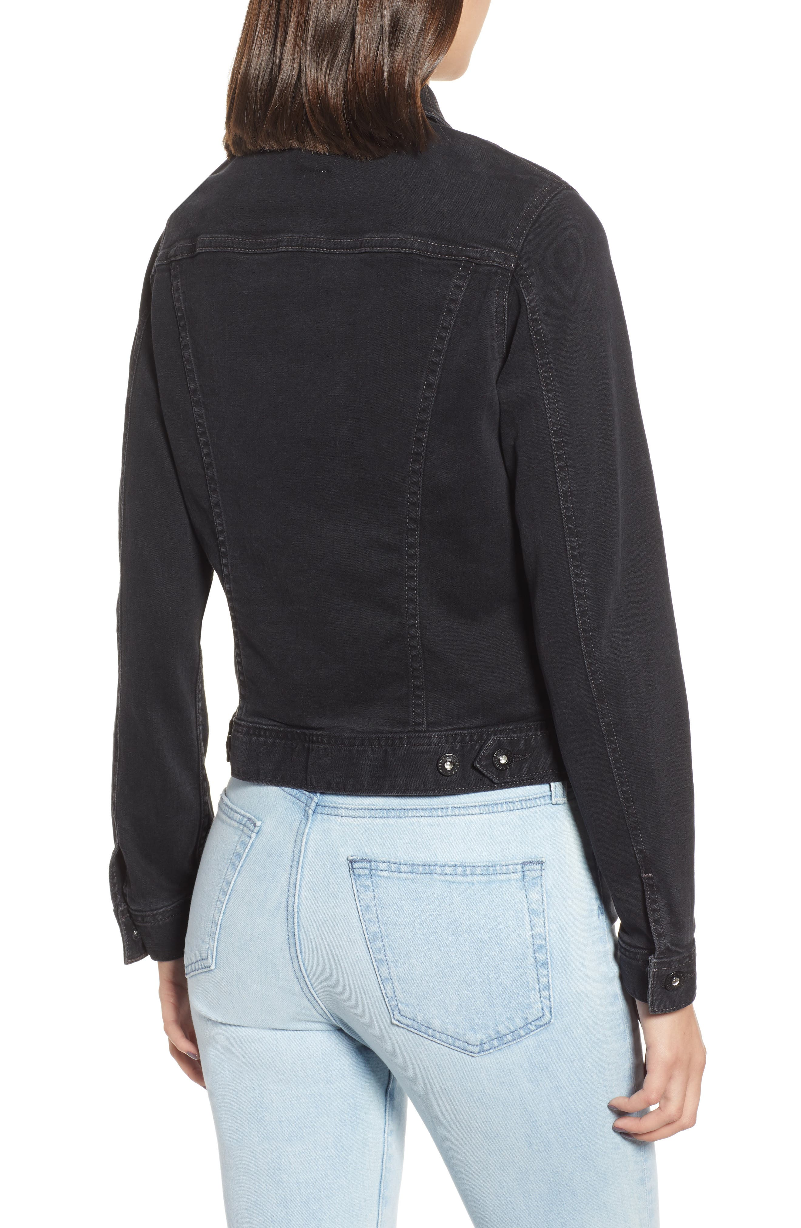 'Robyn' Crop Denim Jacket,                             Alternate thumbnail 2, color,                             DUSTED UMBRIA