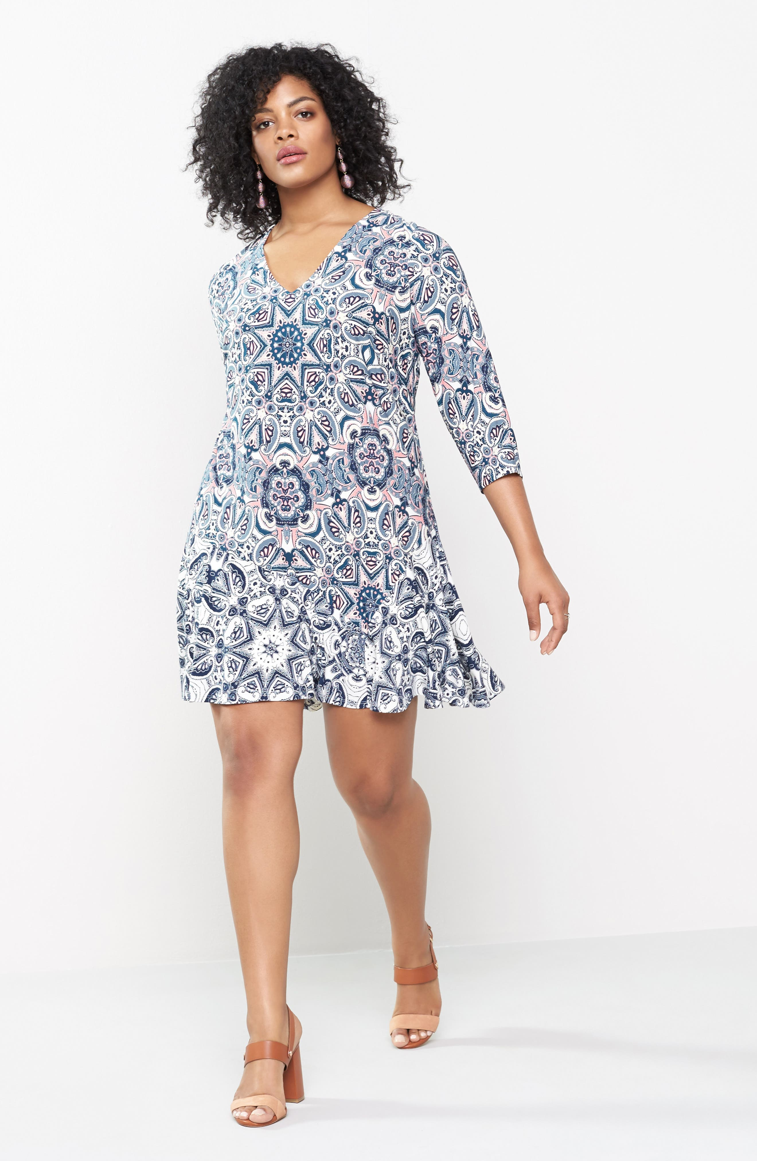 Mixed Paisley A-Line Dress,                             Alternate thumbnail 6, color,                             404