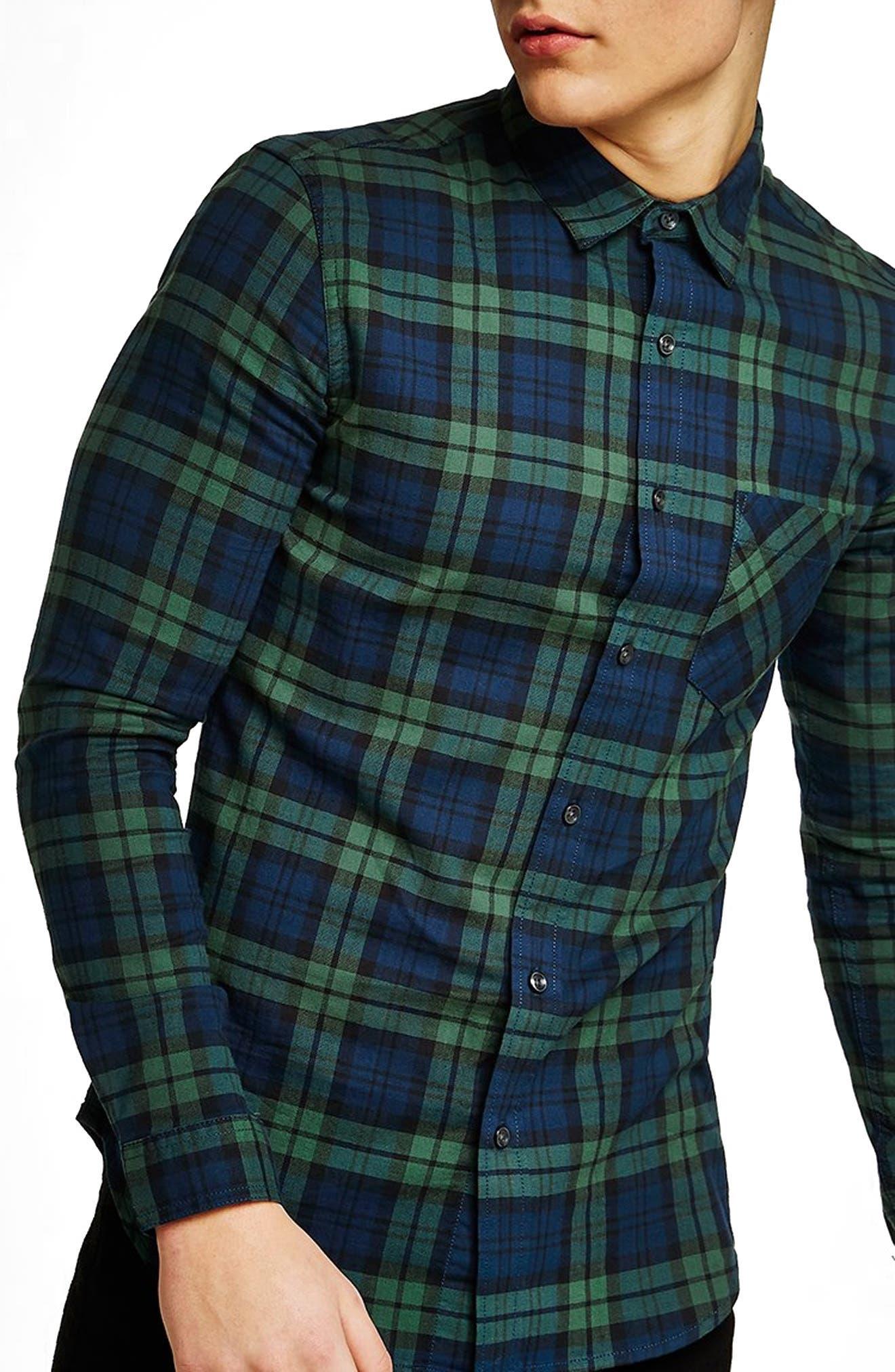 Muscle Fit Black Watch Plaid Shirt,                         Main,                         color, 411