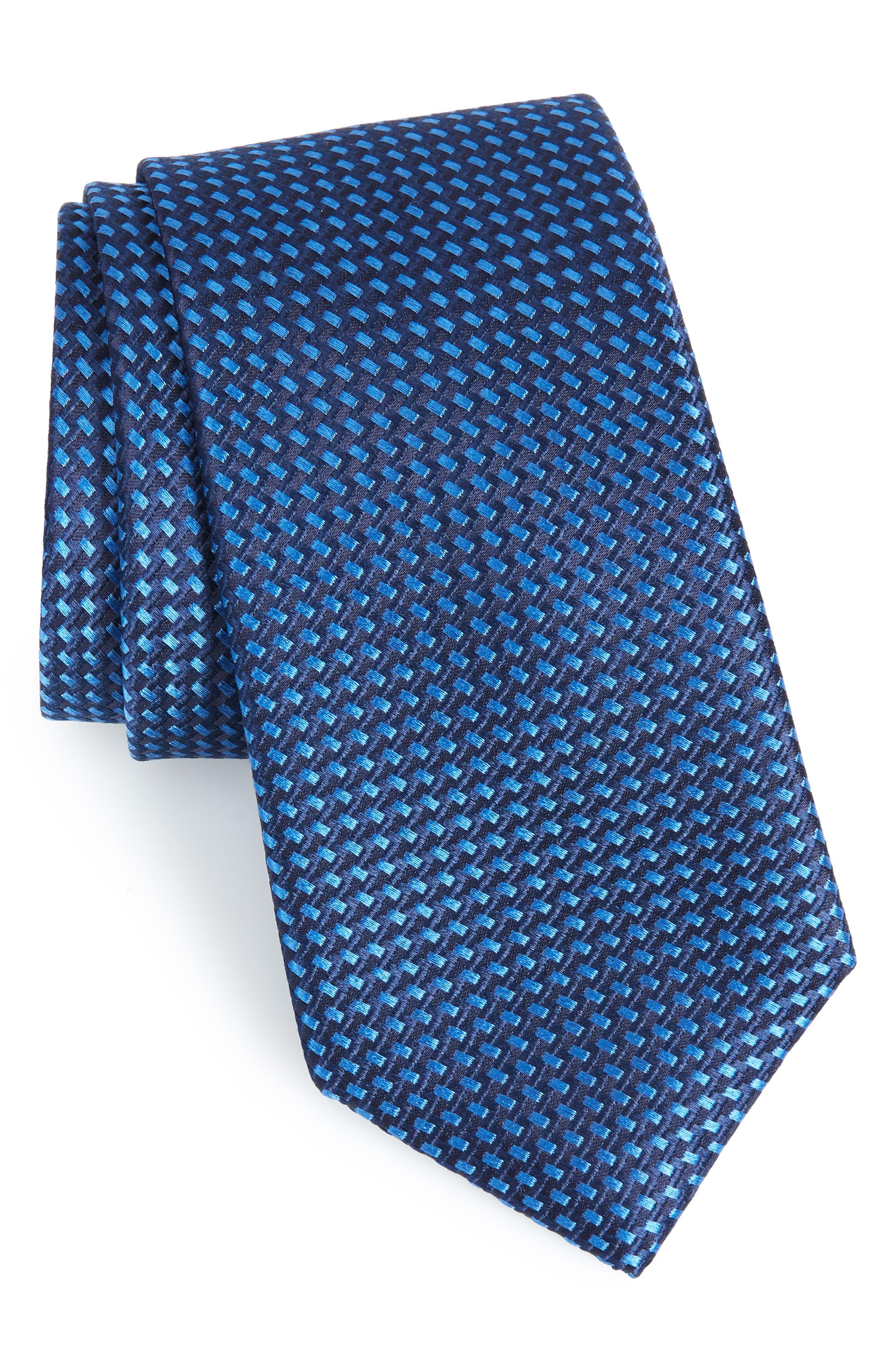 Stella Solid Silk Tie,                         Main,                         color, NAVY