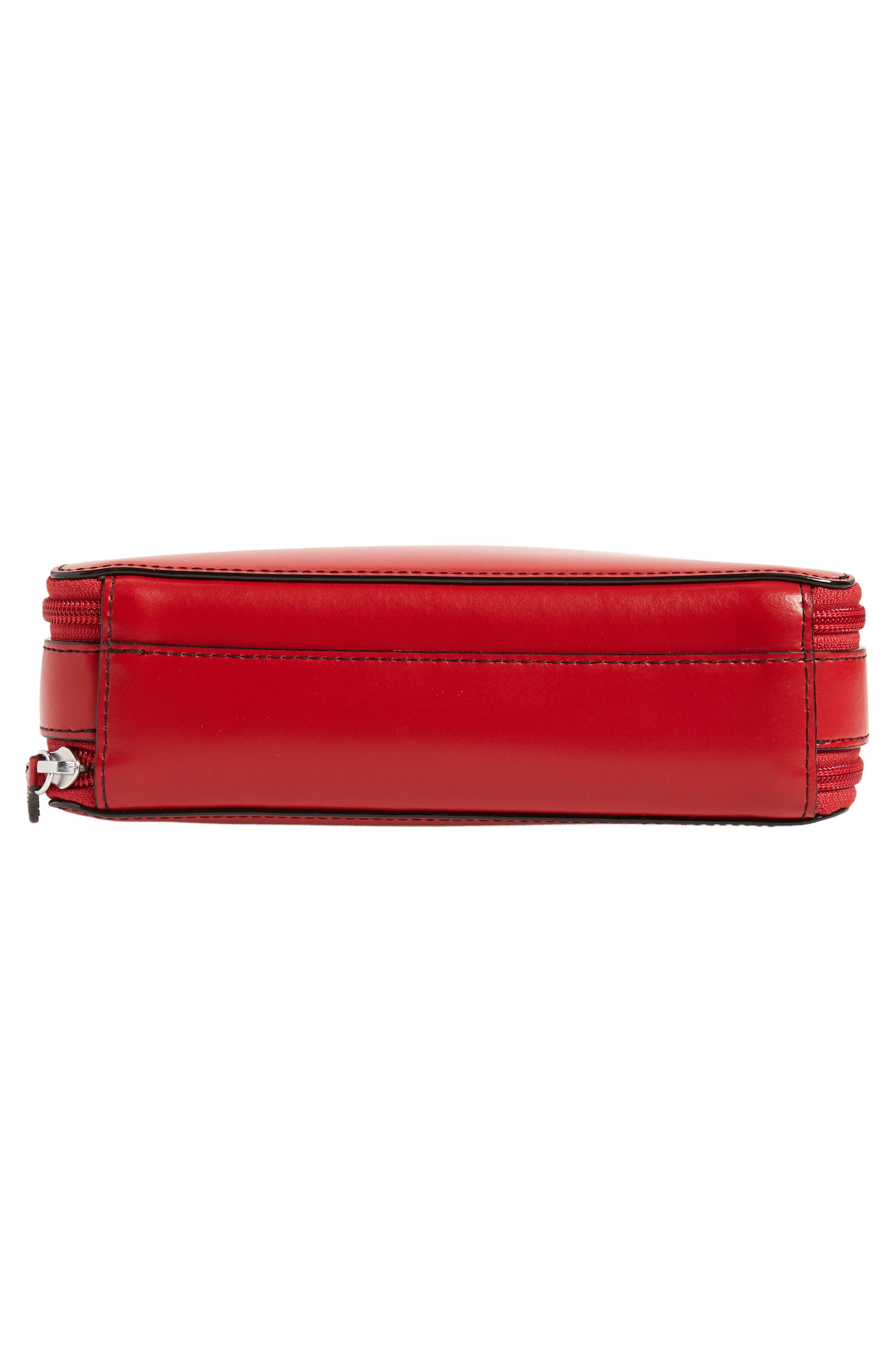Downtown Sally RFID Zip-Around Leather Crossbody Bag,                             Alternate thumbnail 6, color,                             RED