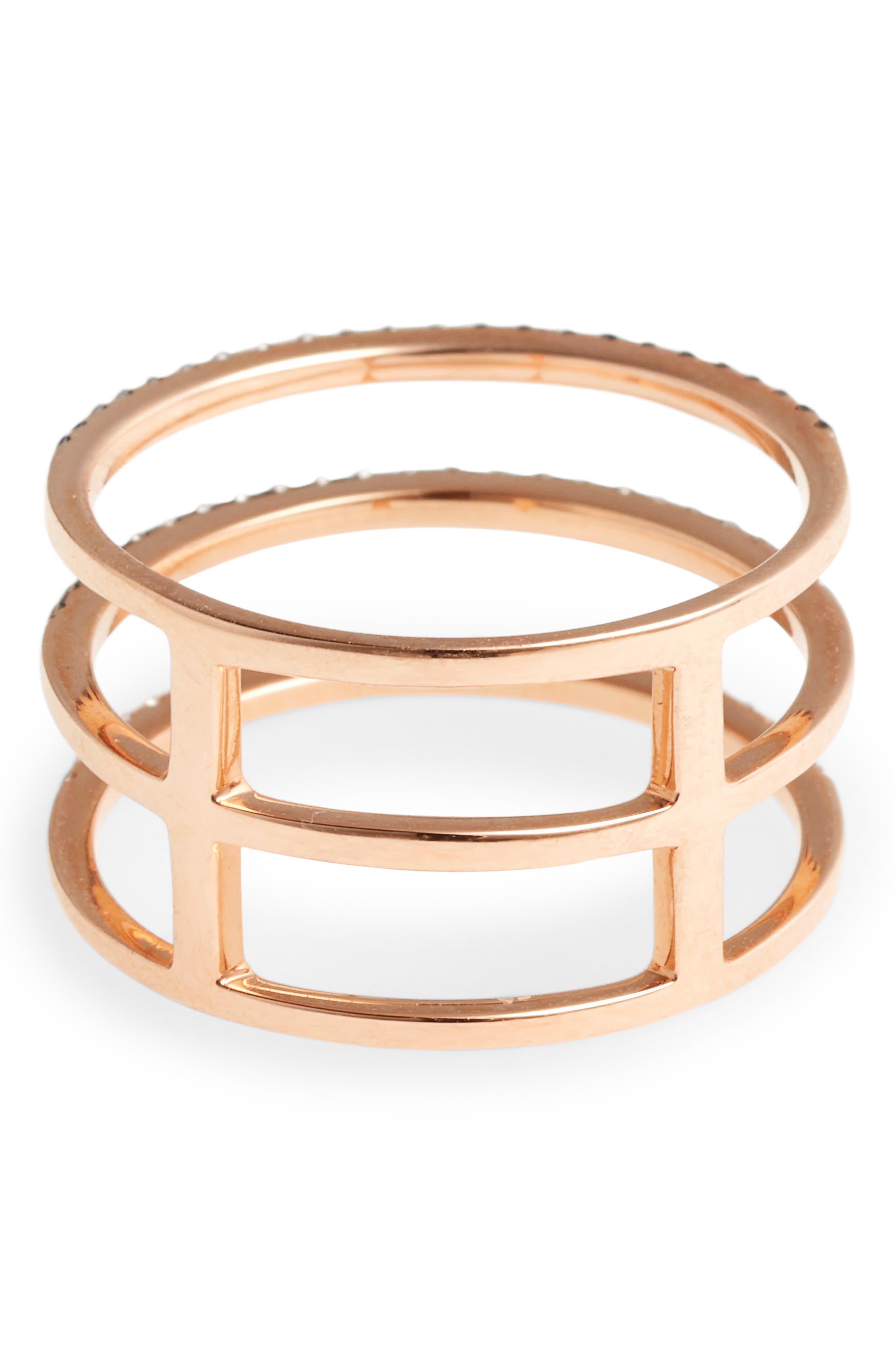 Diamond Triple Fade Stacking Ring,                             Alternate thumbnail 4, color,                             ROSE GOLD