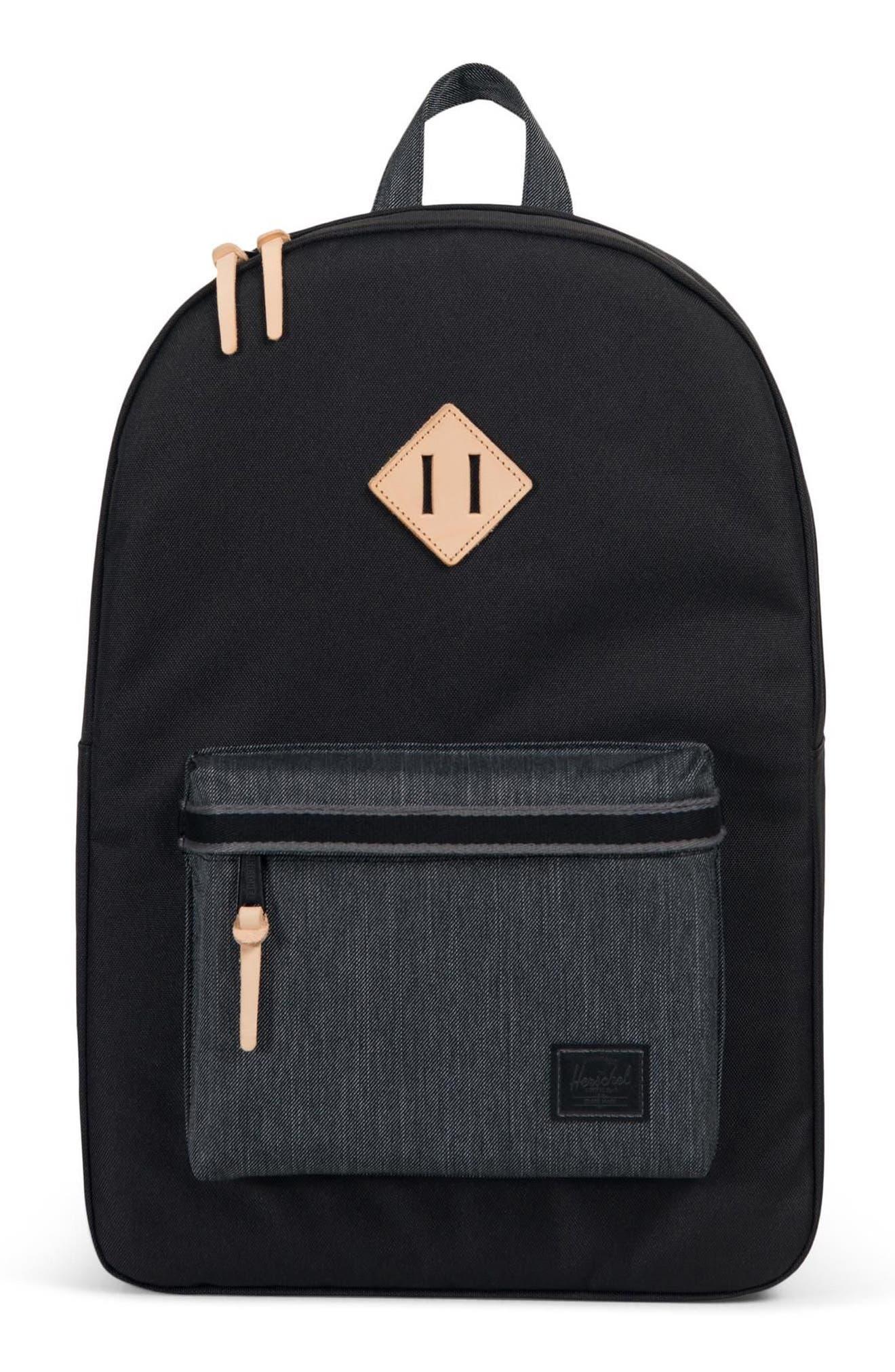 Heritage Offset Denim Backpack,                             Main thumbnail 1, color,                             BLACK/ BLACK DENIM