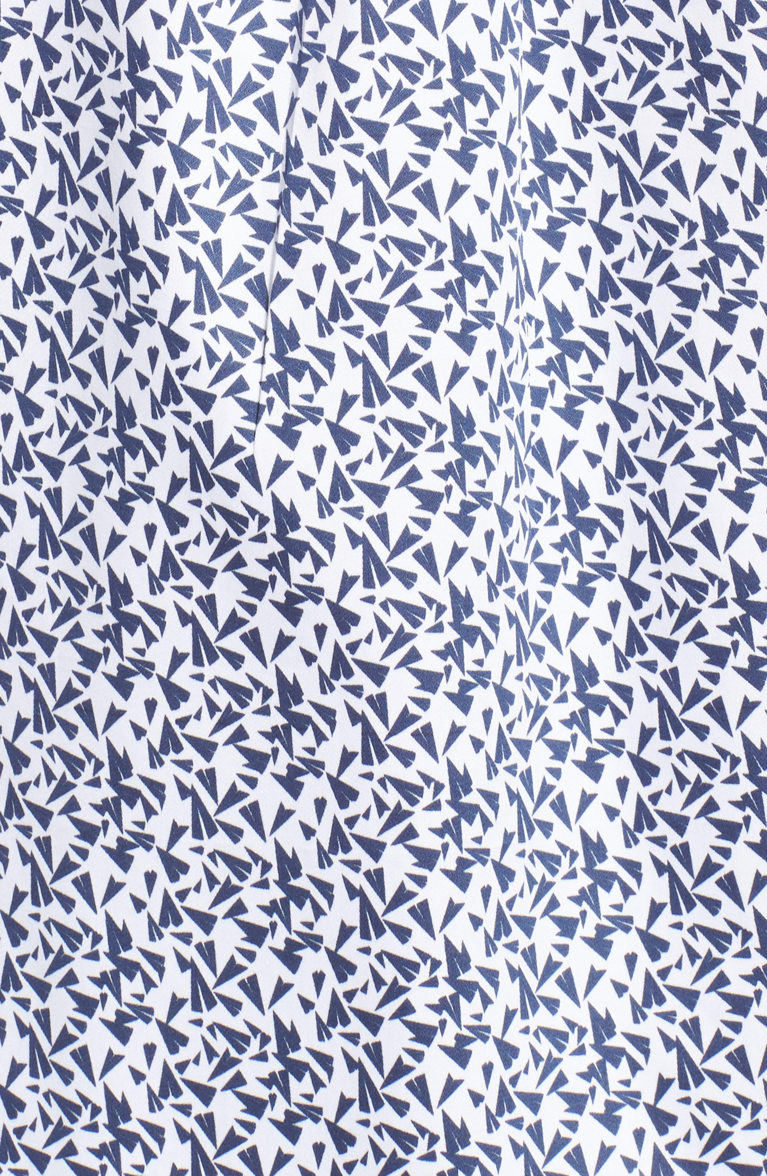 Fly Like Paper Print Sport Shirt,                             Alternate thumbnail 5, color,                             WHITE
