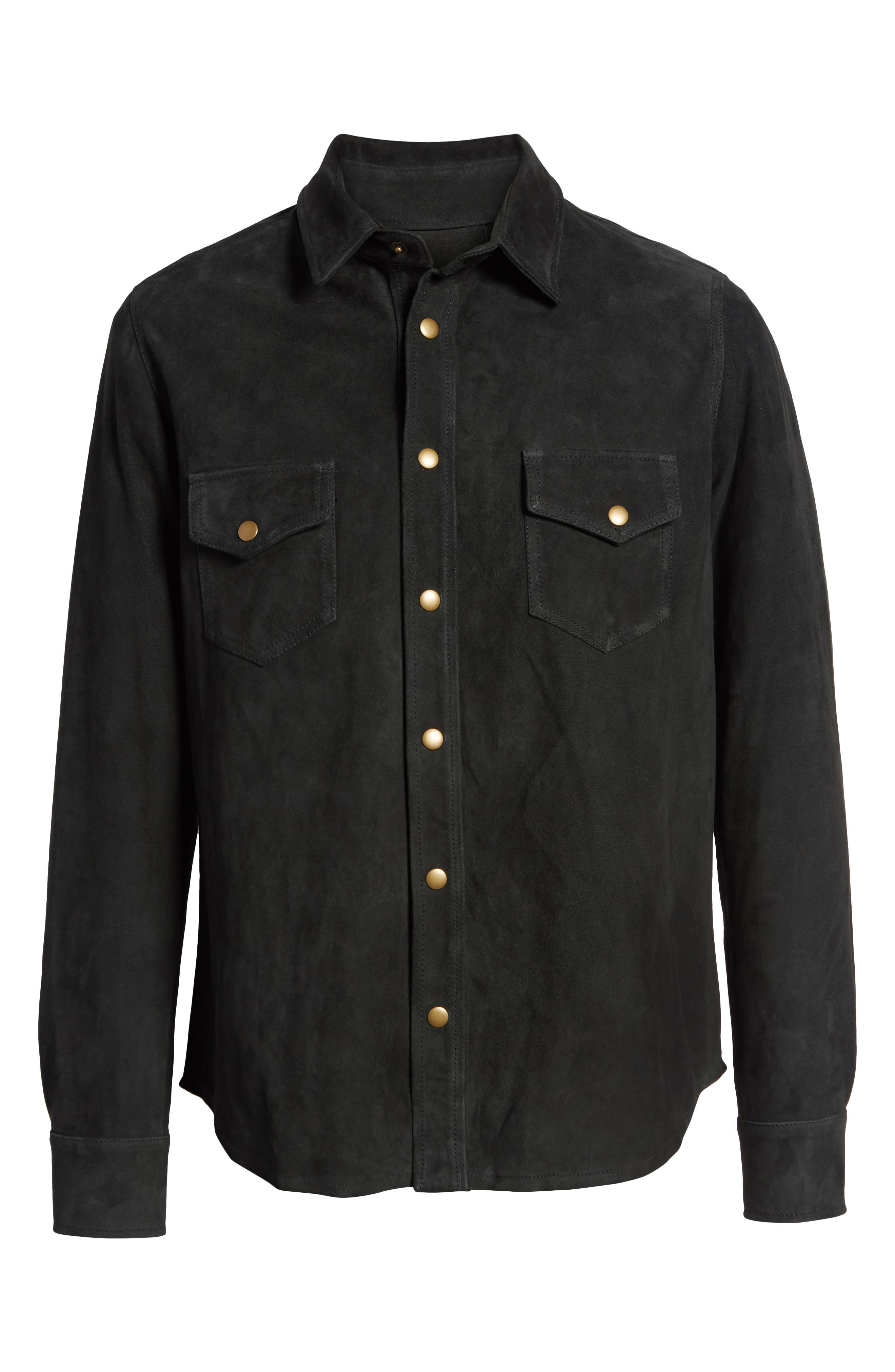 Suede Work Shirt,                             Alternate thumbnail 6, color,                             CHARCOAL