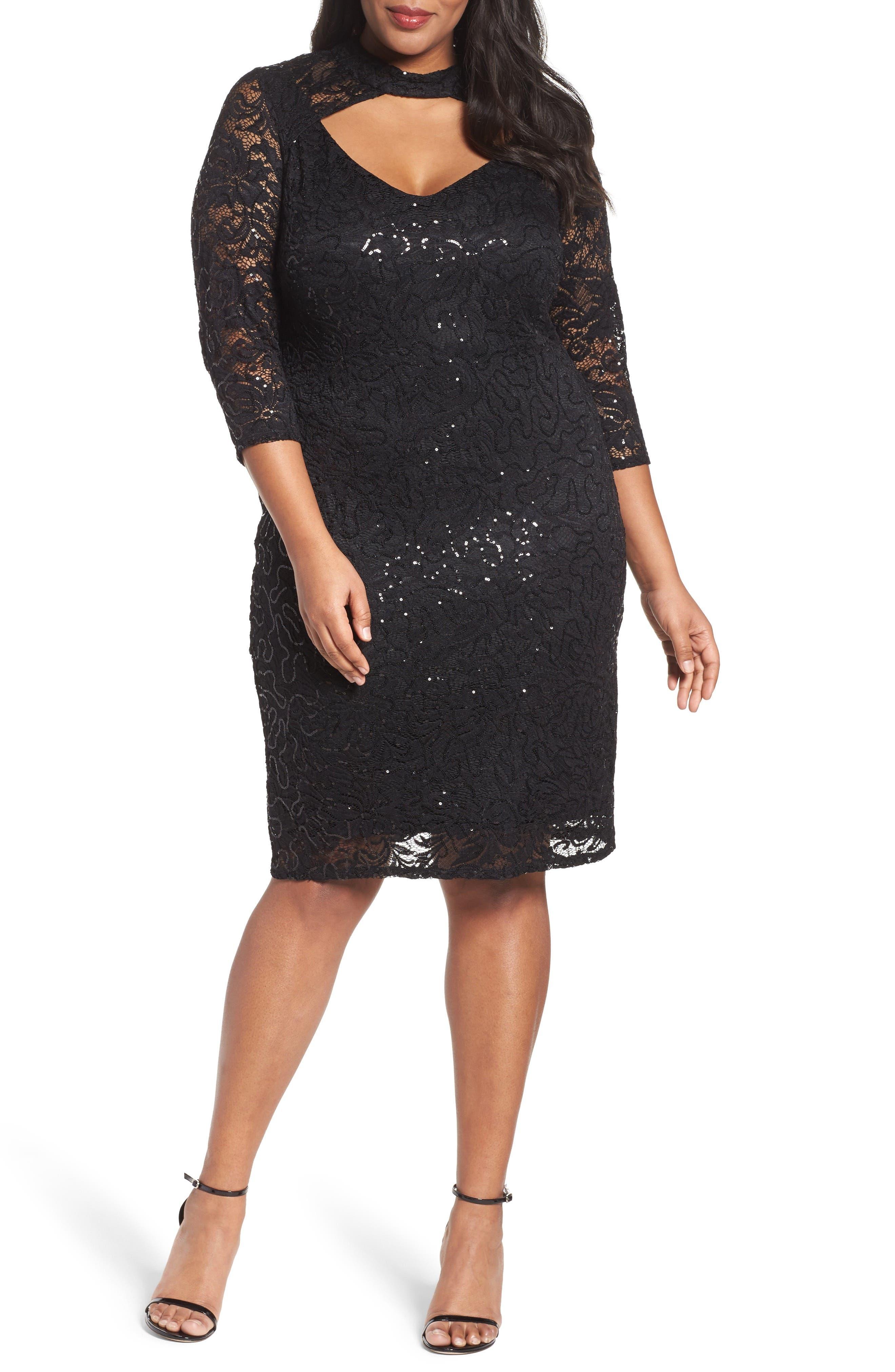 Cutout Sequin Lace Sheath Dress,                             Main thumbnail 1, color,                             001