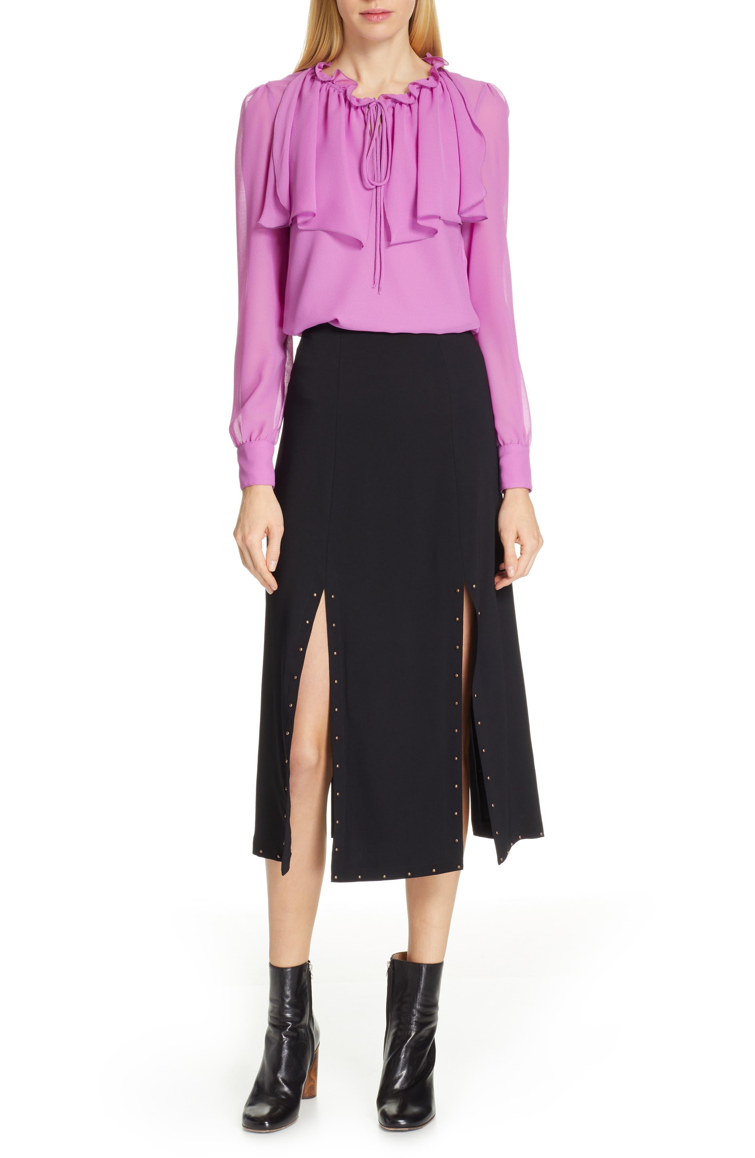 Slit Detail Midi Skirt,                             Alternate thumbnail 7, color,                             BLACK