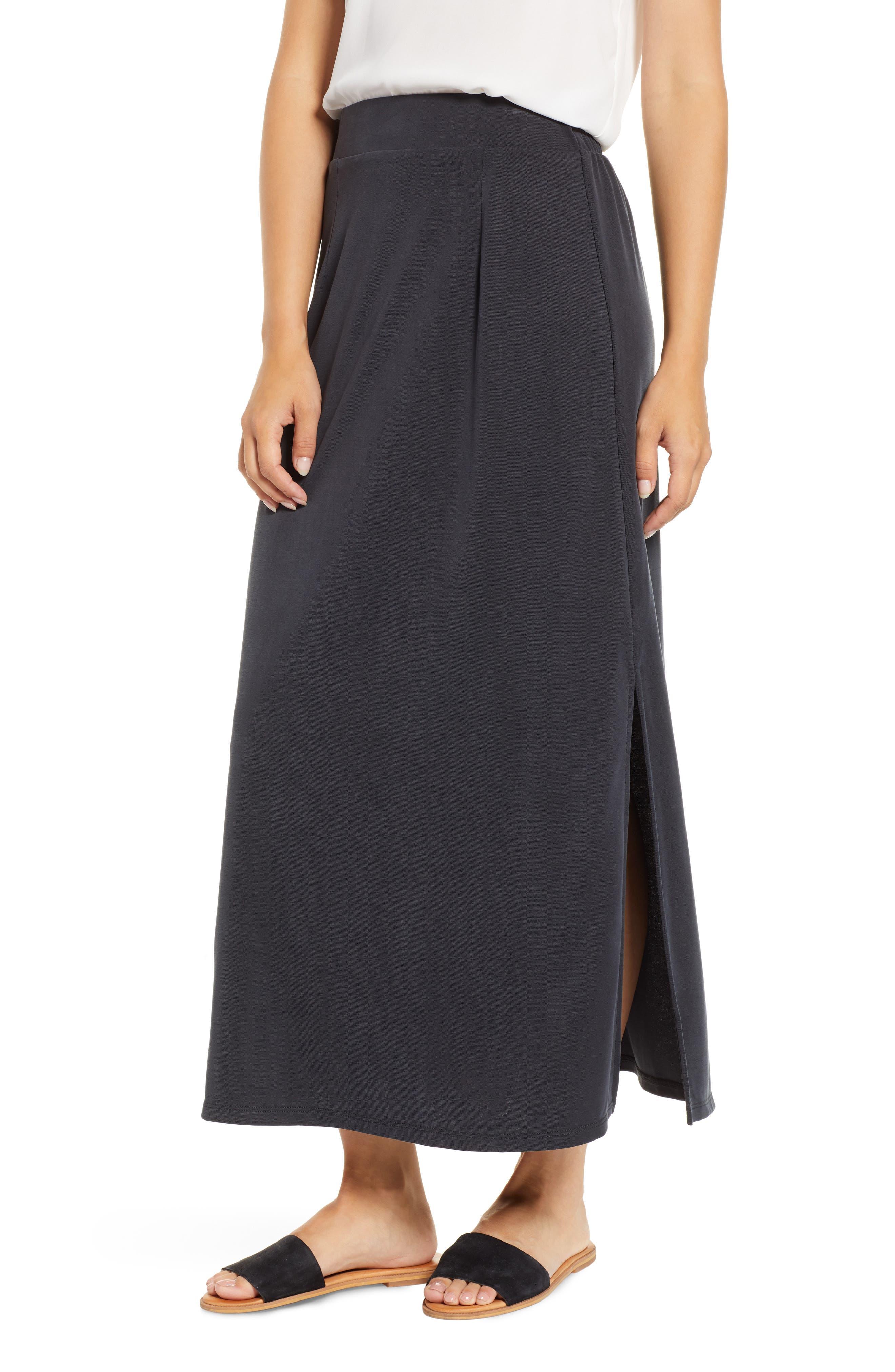 Side Slit Petite Maxi Skirt