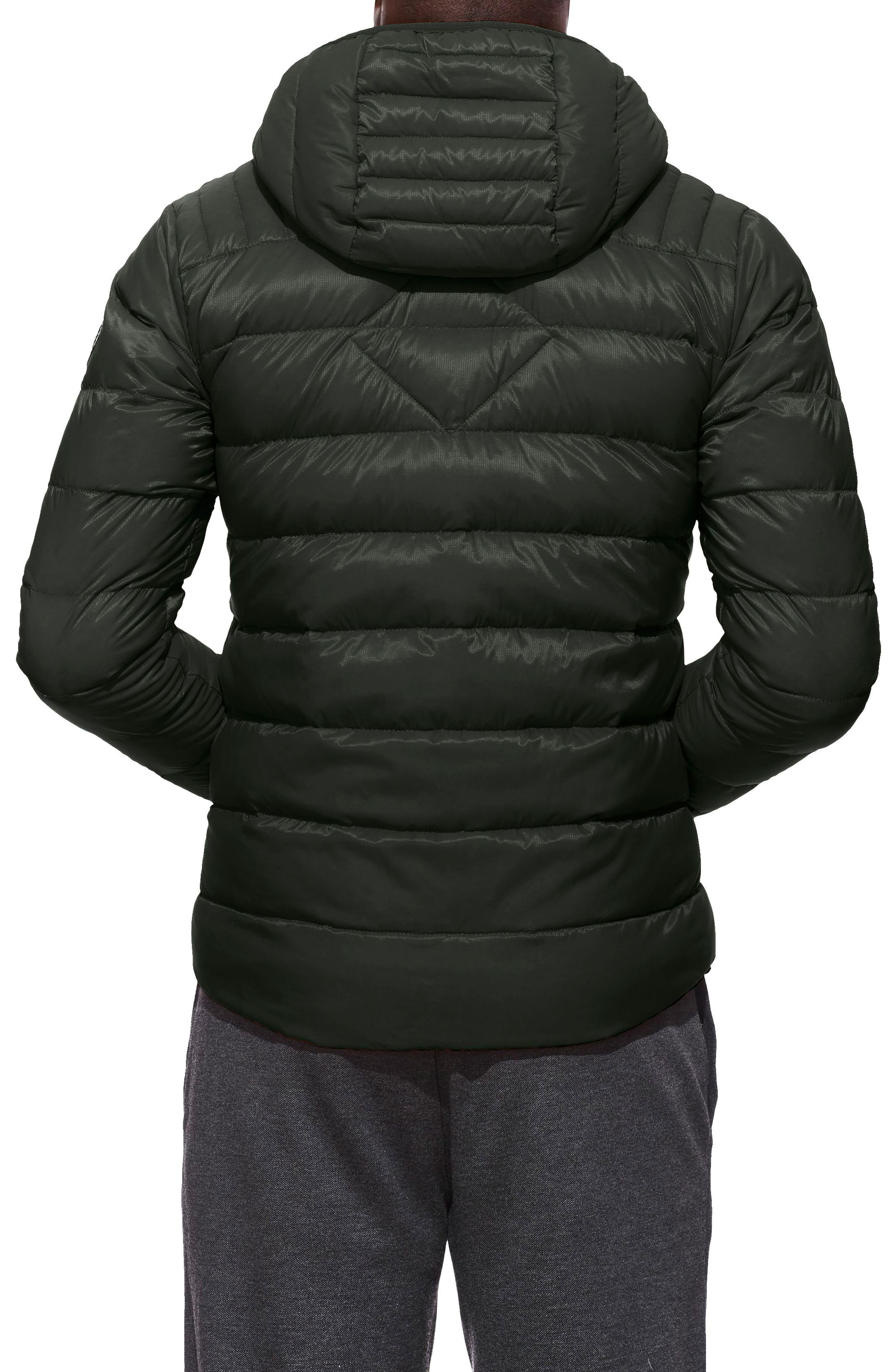 Brookvale Slim Fit Hooded Down Jacket,                             Alternate thumbnail 2, color,                             VOLCANO/ BLACK