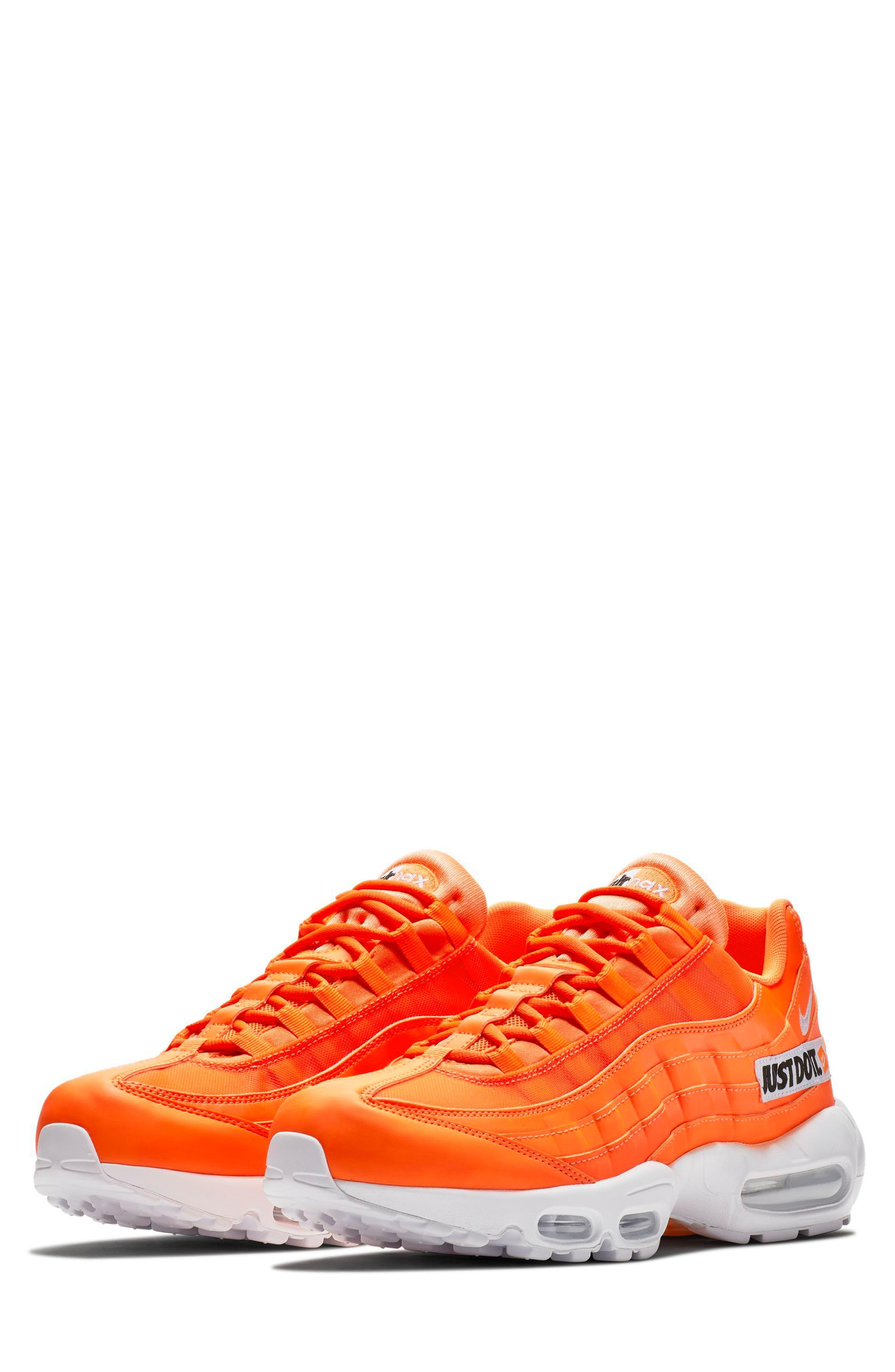 Air Max 95 SE Running Shoe,                             Main thumbnail 1, color,                             ORANGE/ WHT-BLK
