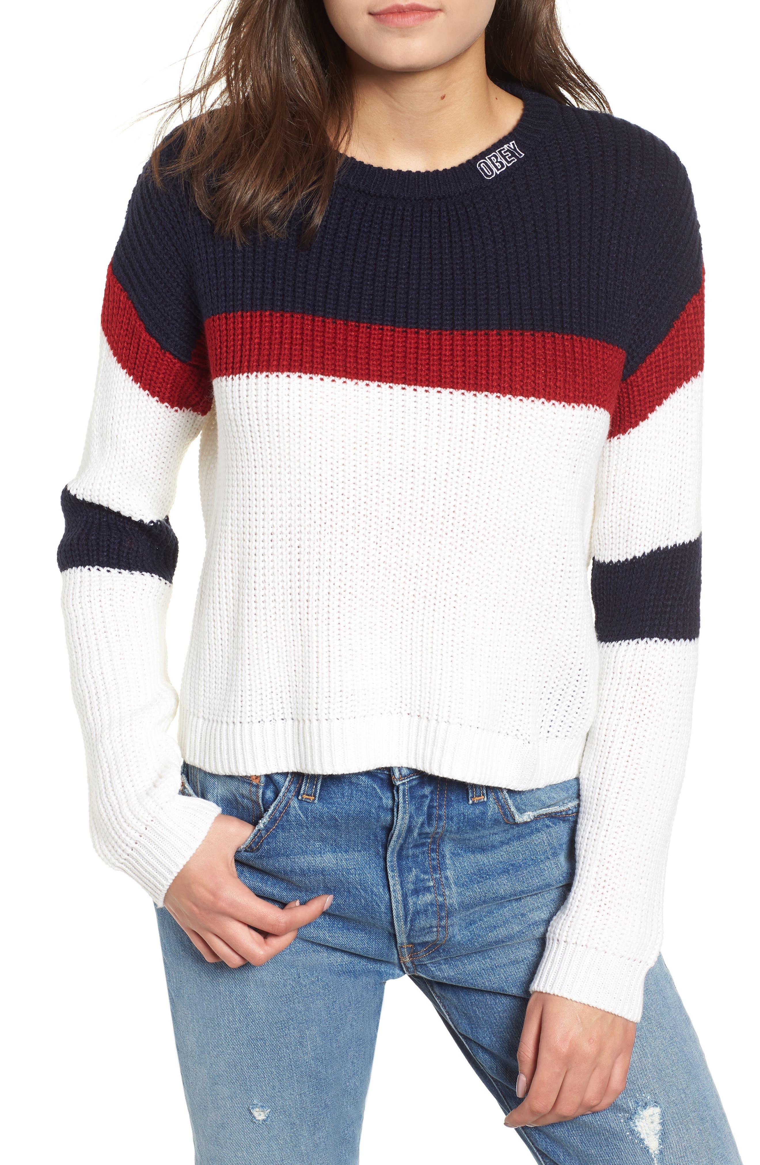 Allie Colorblock Crewneck Sweater,                             Main thumbnail 1, color,                             NAVY MULTI