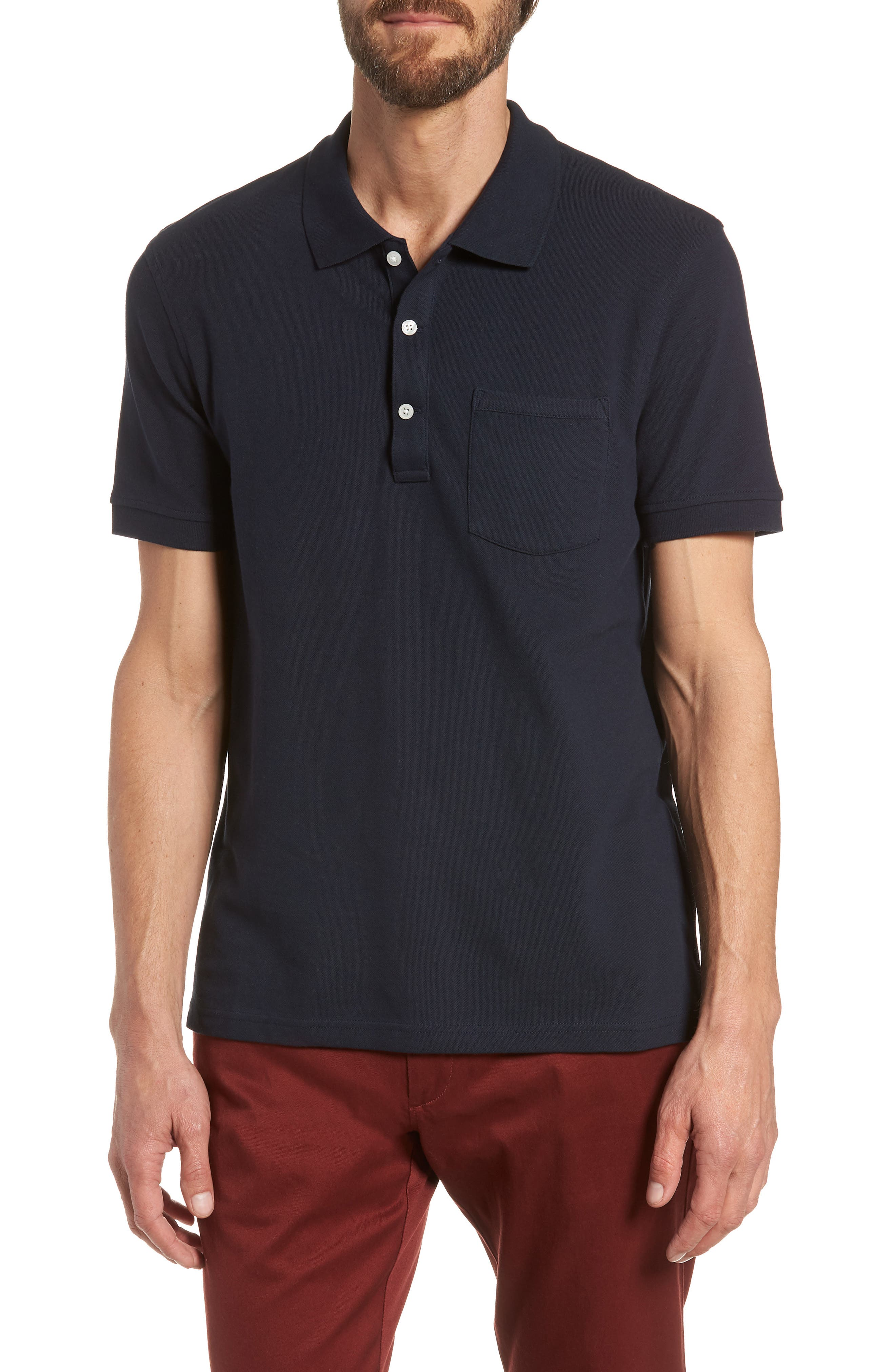 Stretch Cotton Polo Shirt,                         Main,                         color, NAVY
