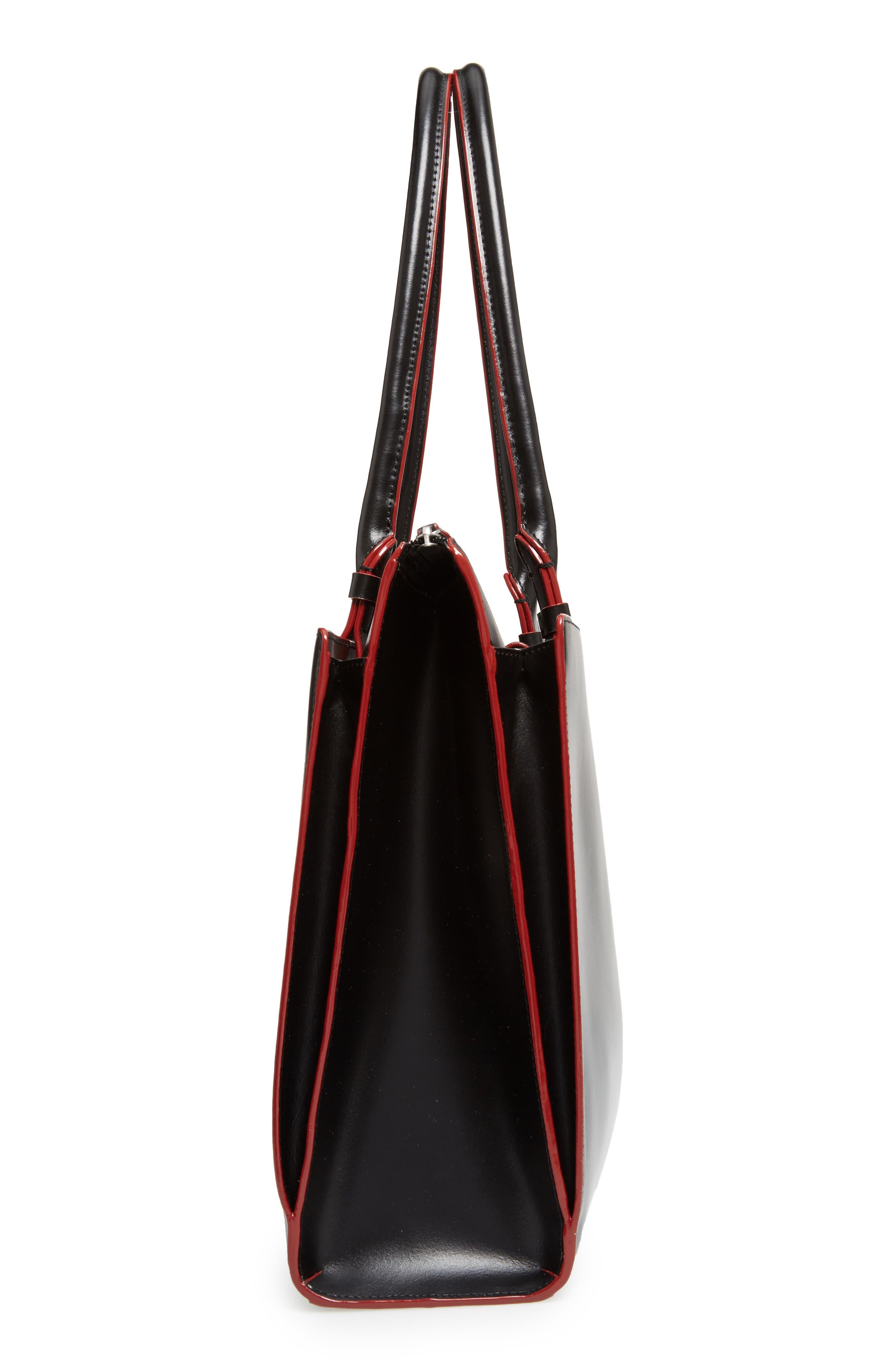 LODIS Audrey Under Lock & Key - Jessica RFID Leather Satchel,                             Alternate thumbnail 5, color,                             BLACK