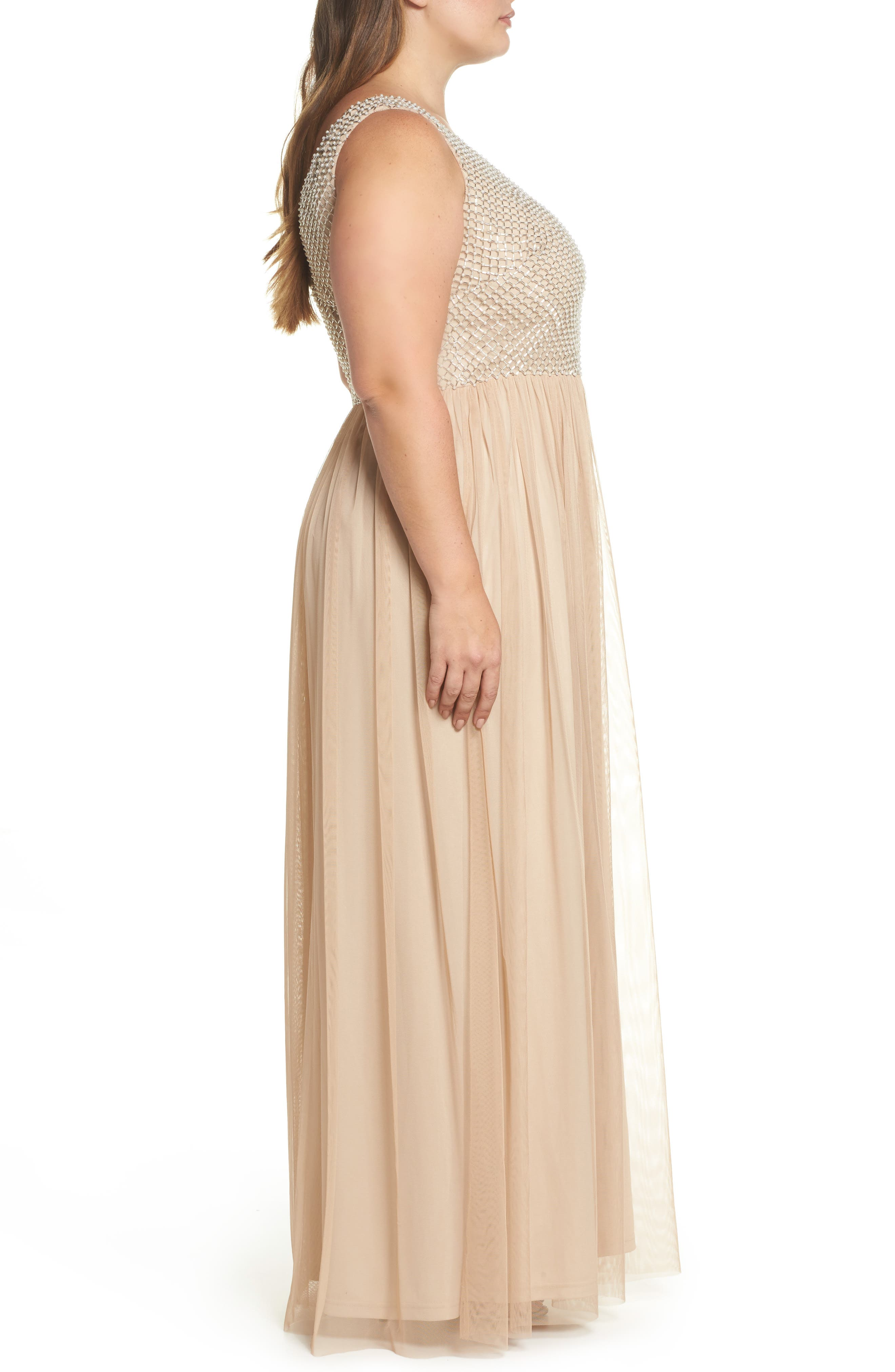 Beaded & Tulle Gown,                             Alternate thumbnail 3, color,                             CHAMPAGNE