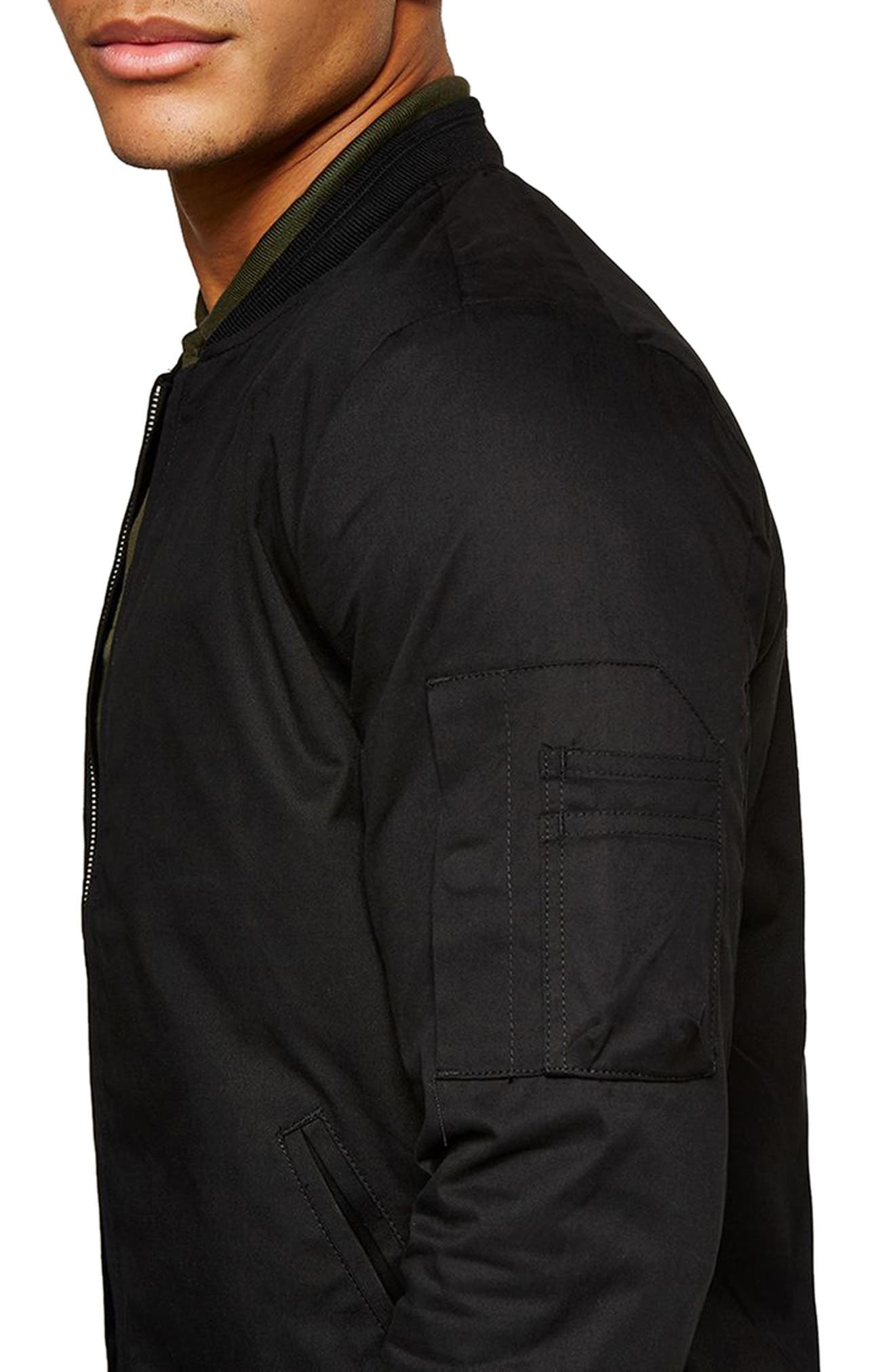 Muscle Fit Bomber Jacket,                             Alternate thumbnail 3, color,                             001