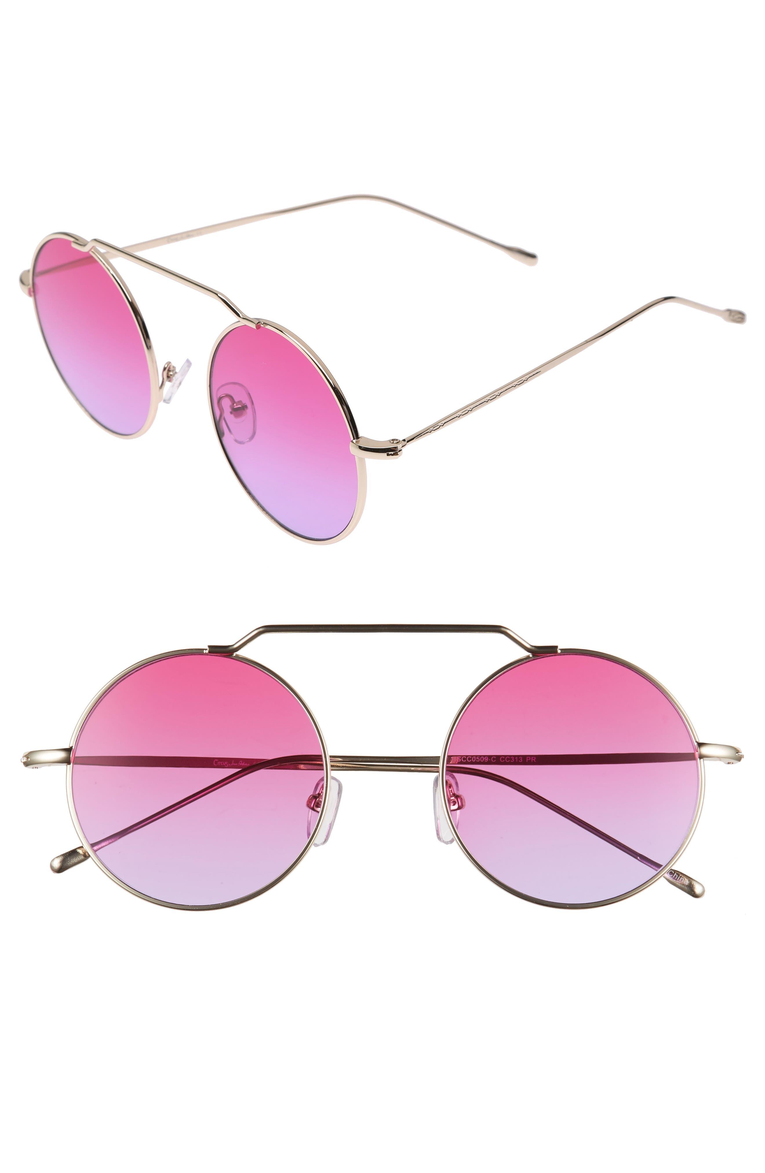51mm Brow Bar Round Sunglasses,                             Main thumbnail 3, color,
