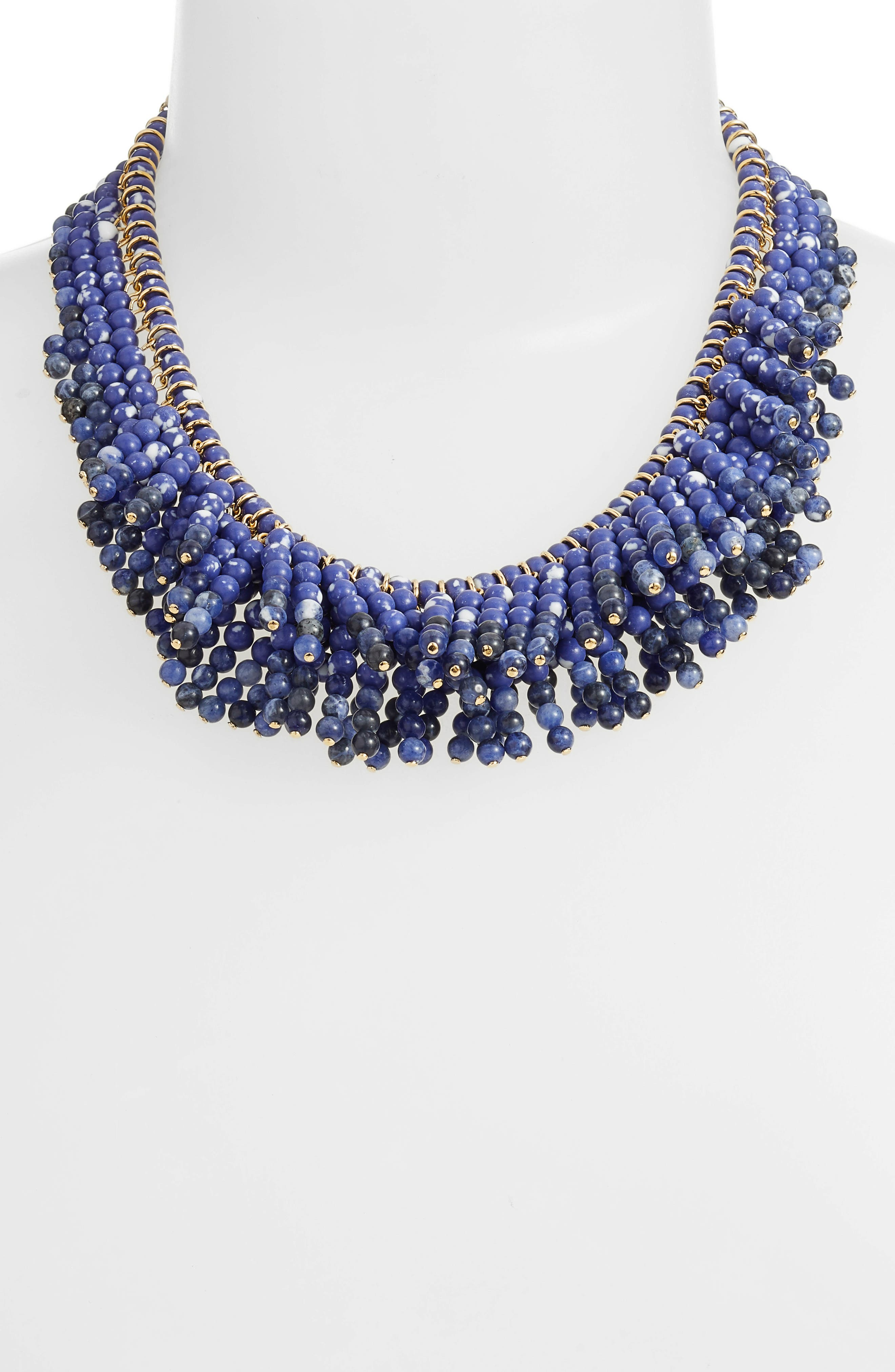 Shaggy Stone Bib Necklace,                             Alternate thumbnail 2, color,                             400