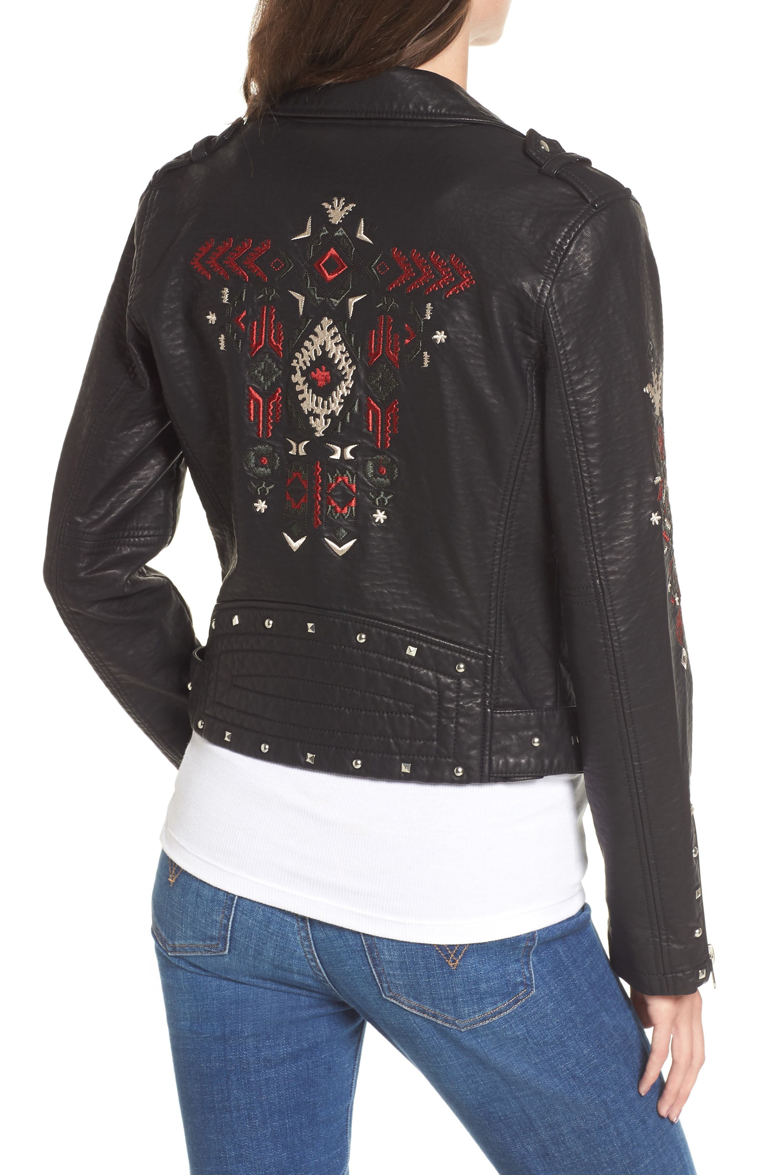 Studded & Embroidered Faux Leather Moto Jacket,                             Alternate thumbnail 2, color,                             001