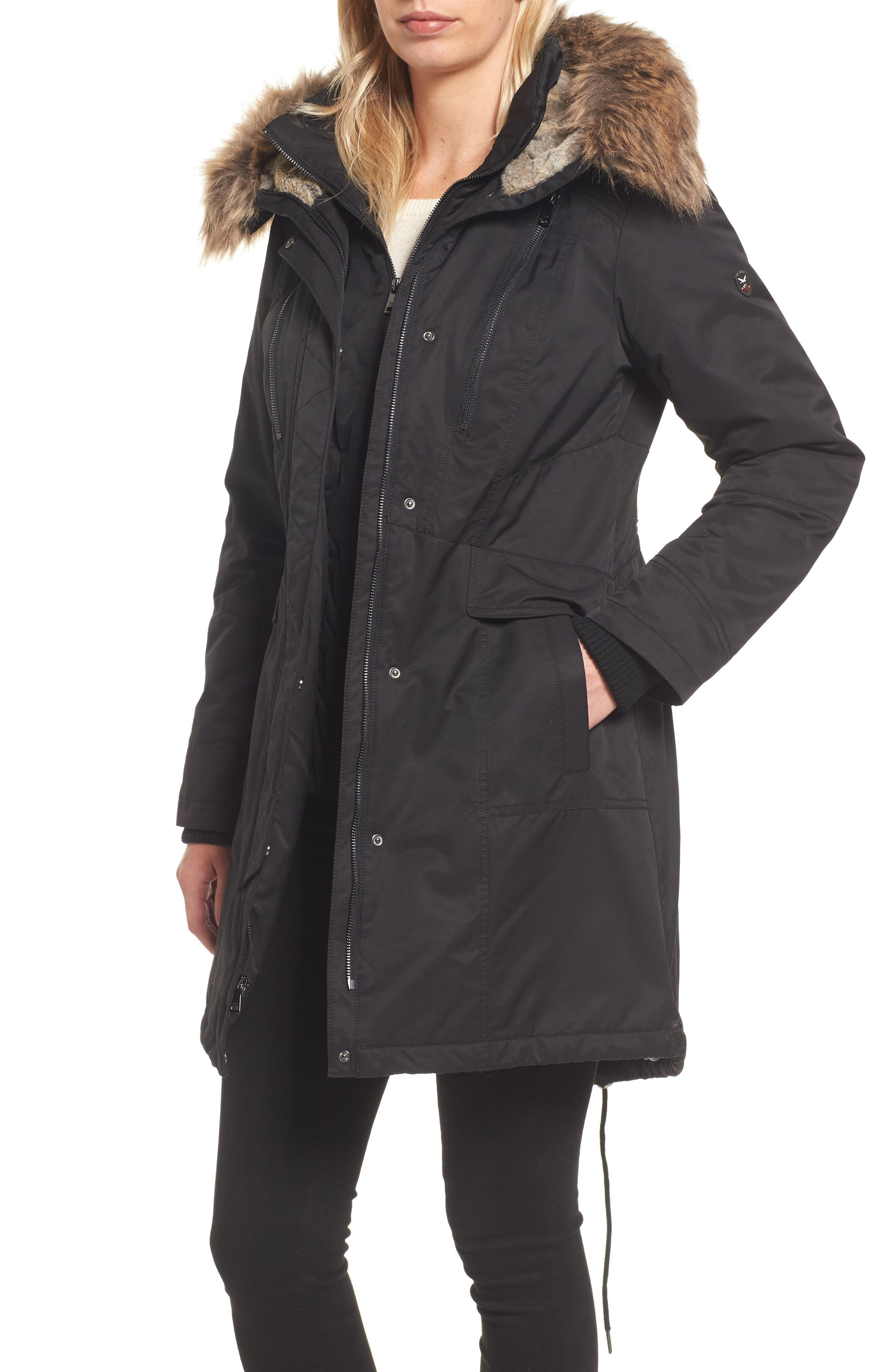 Insulated Parka with Faux Fur Trim,                             Main thumbnail 1, color,                             001