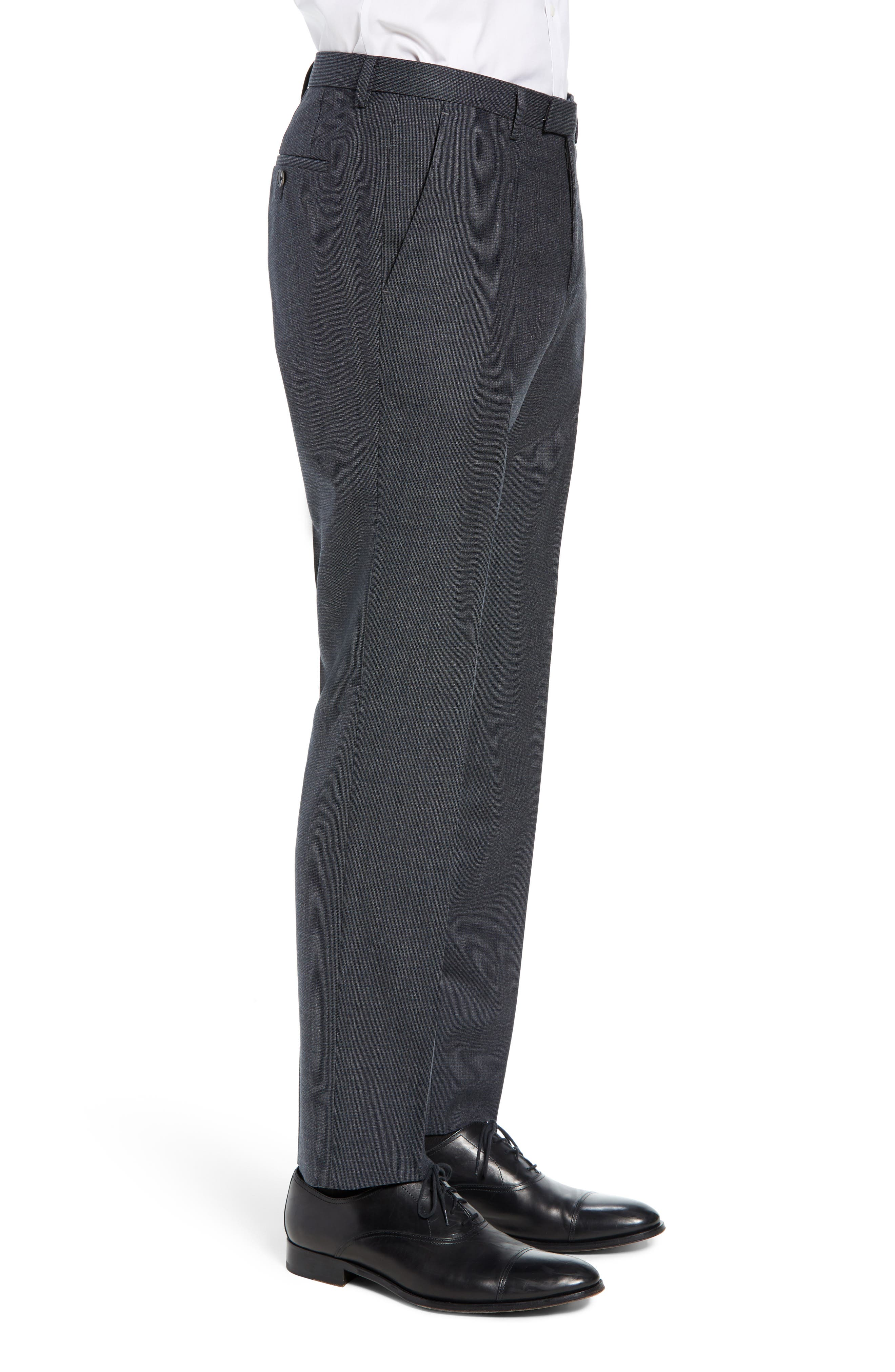 Leenon Flat Front Solid Wool Trousers,                             Alternate thumbnail 3, color,                             OPEN BLUE