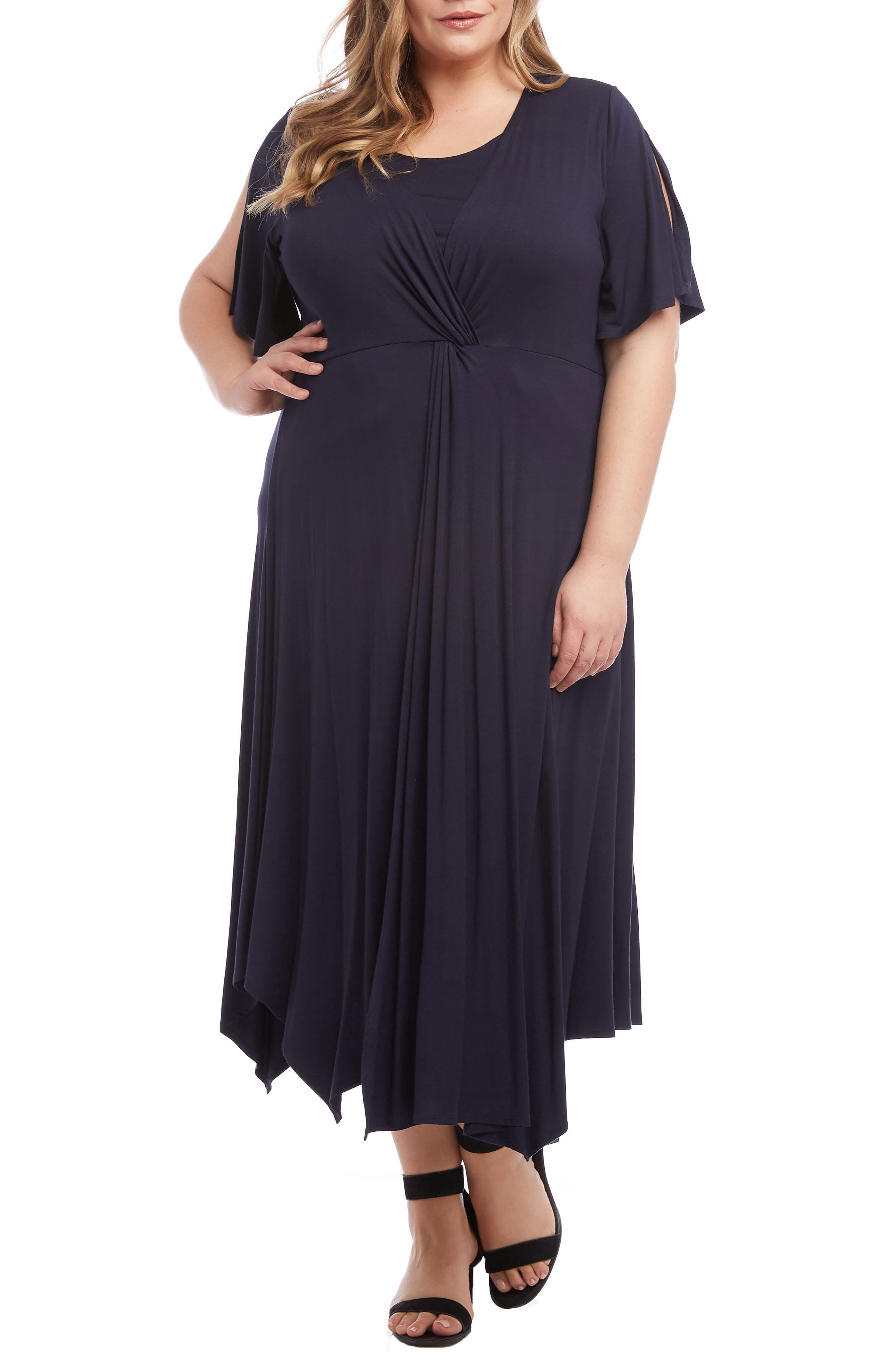 Plus Size Karen Kane Asymmetrical Twist Front Maxi Dress, Blue