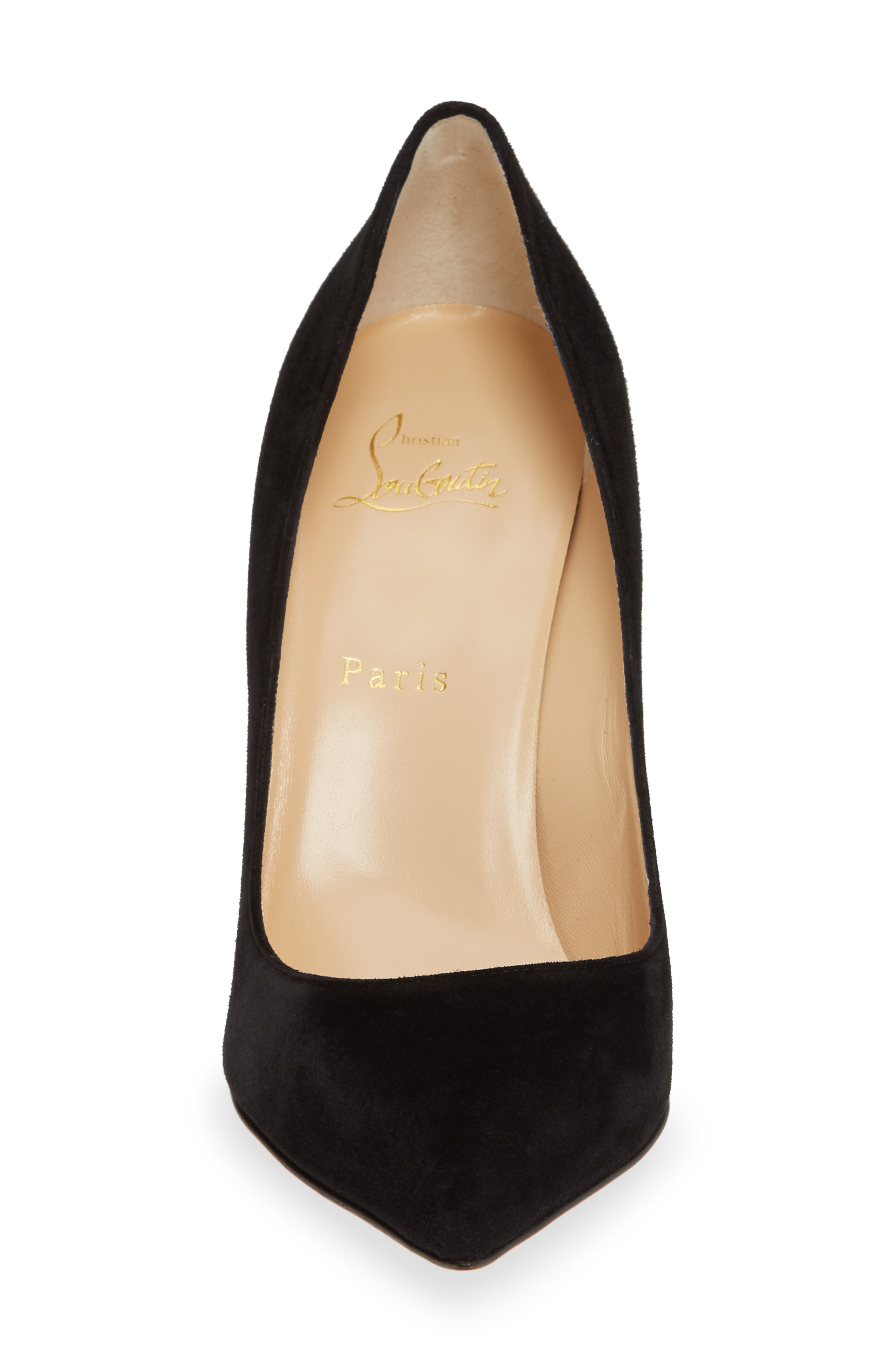 CHRISTIAN LOUBOUTIN,                             Pigalle Pointy Toe Pump,                             Alternate thumbnail 4, color,                             BLACK SUEDE